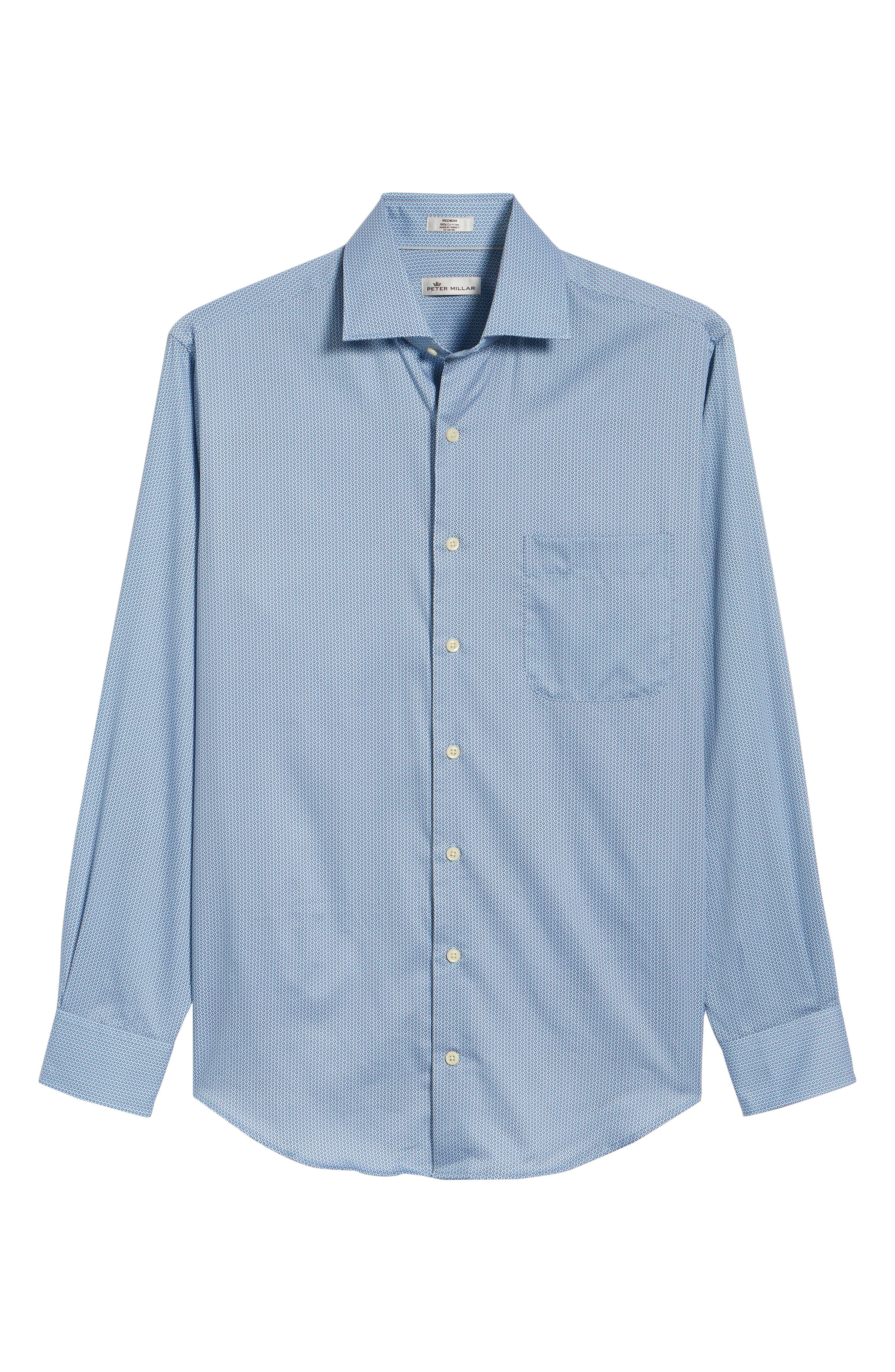 Geo Petal Sport Shirt,                             Alternate thumbnail 5, color,                             GROTTO BLUE