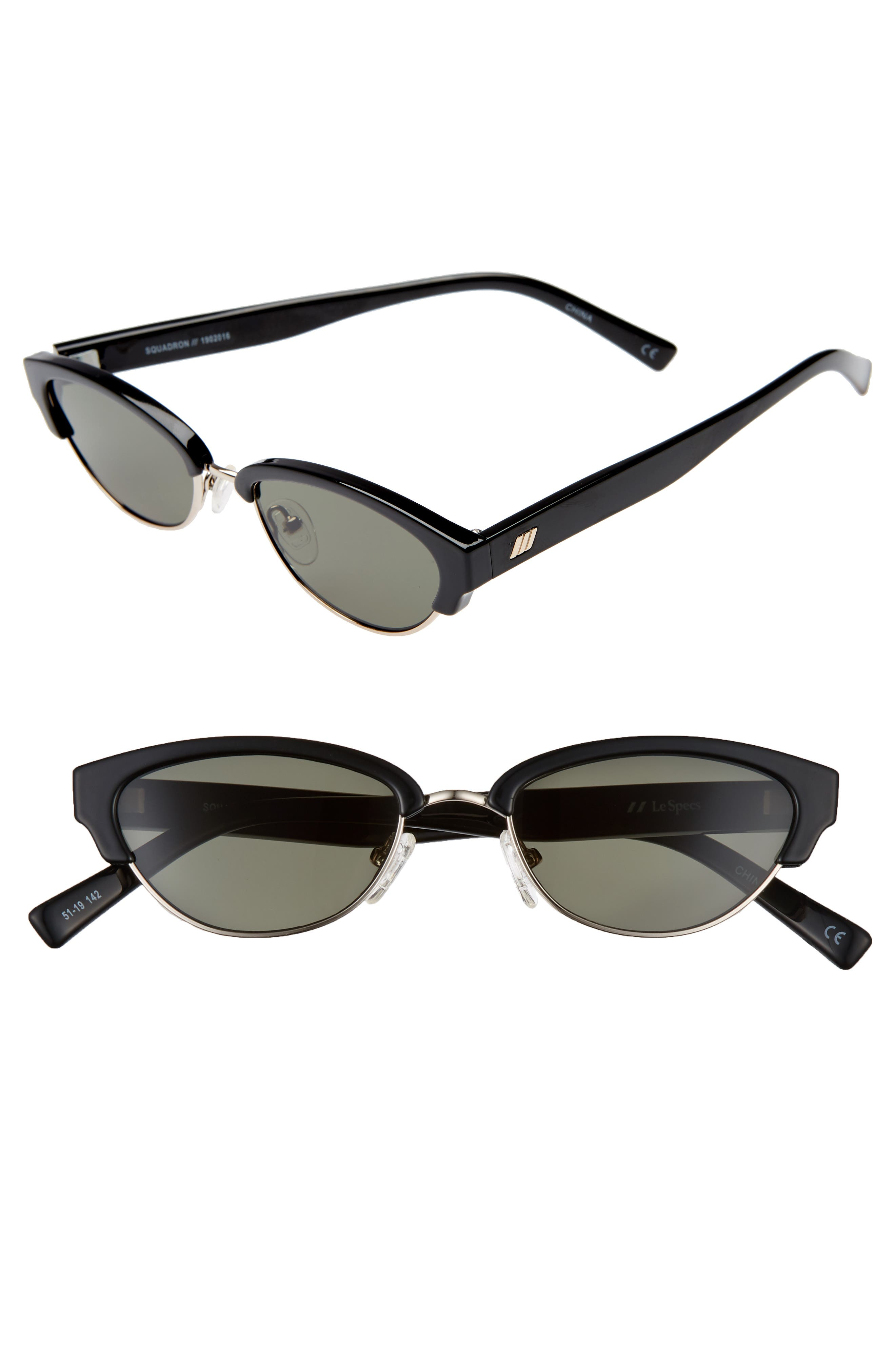 Le Specs Squadron 51Mm Brow Bar Sunglasses - Black/ Khaki