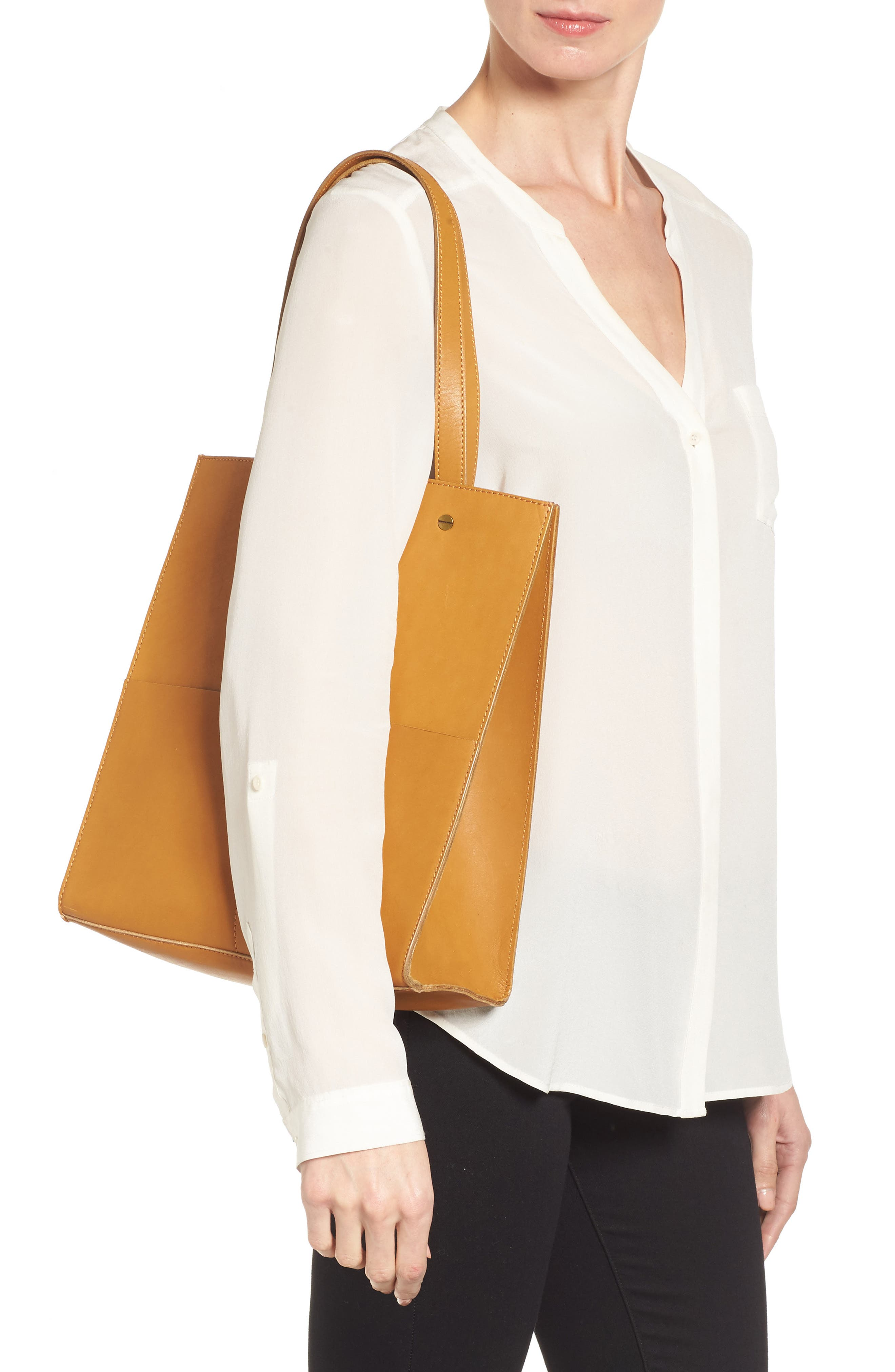 The Passenger Convertible Leather Tote,                             Alternate thumbnail 5, color,