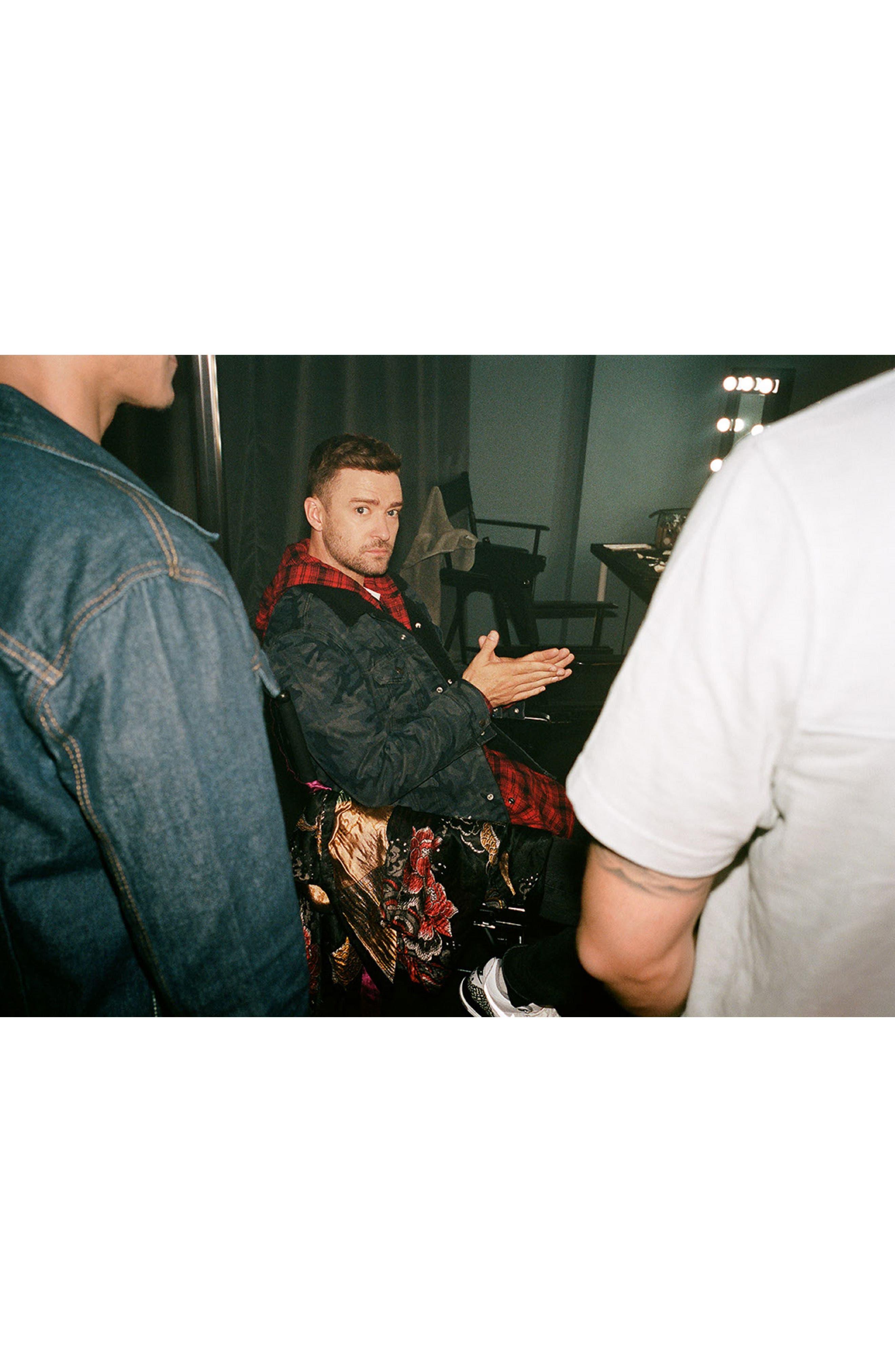 x Justin Timberlake Hooded Flannel Worker Shirt,                             Alternate thumbnail 11, color,                             SERVAL CRIMSON