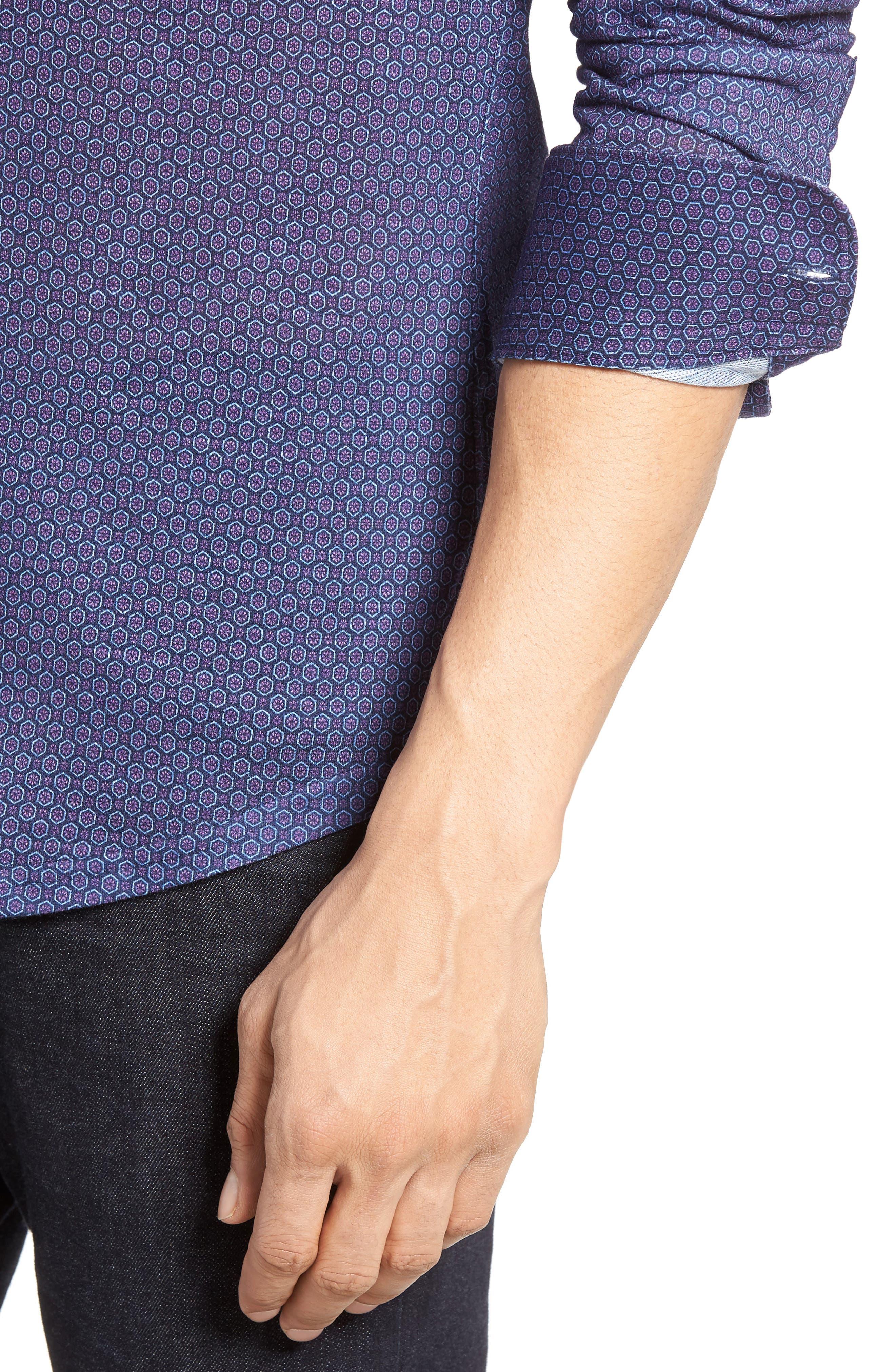 Honeycomb Geo Sport Shirt,                             Alternate thumbnail 4, color,                             410