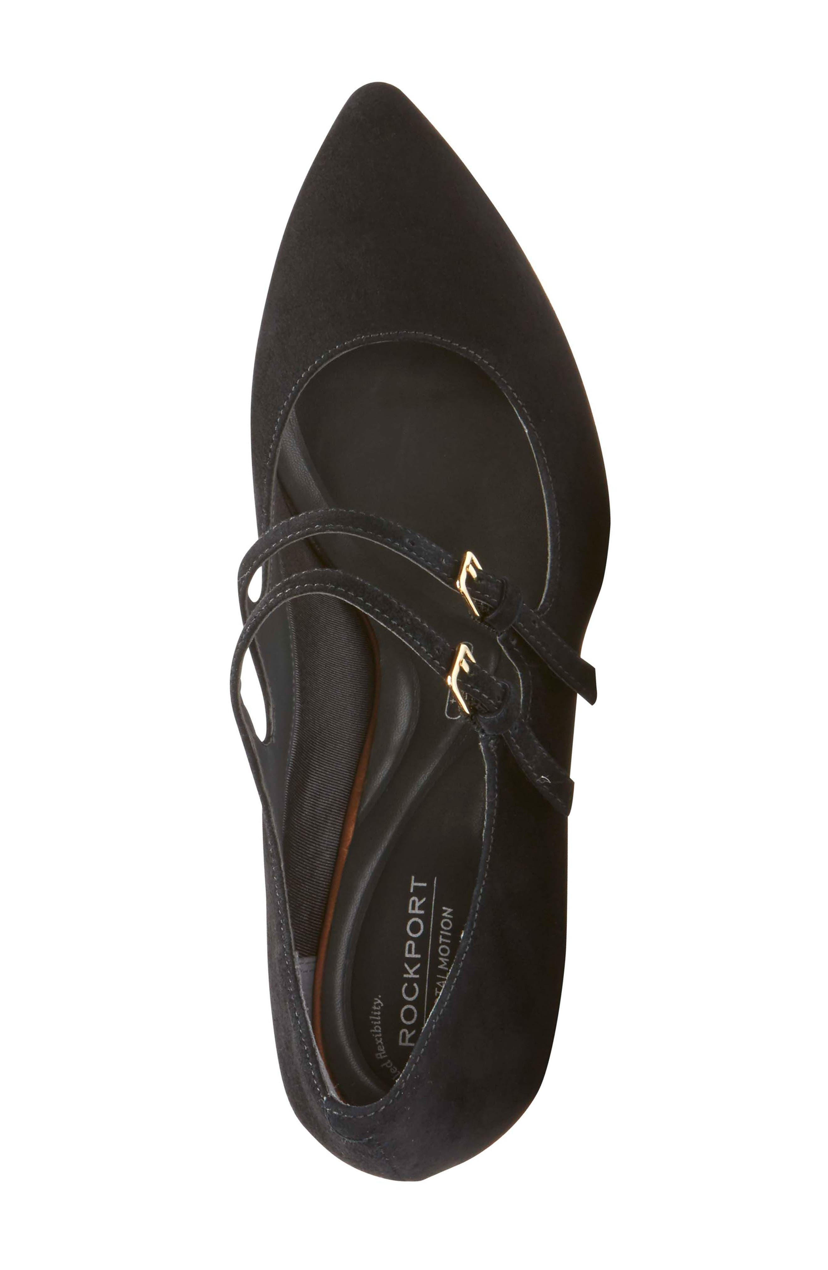 Violina Luxe Double Strap Mary Jane Pump,                             Alternate thumbnail 5, color,                             BLACK SUEDE