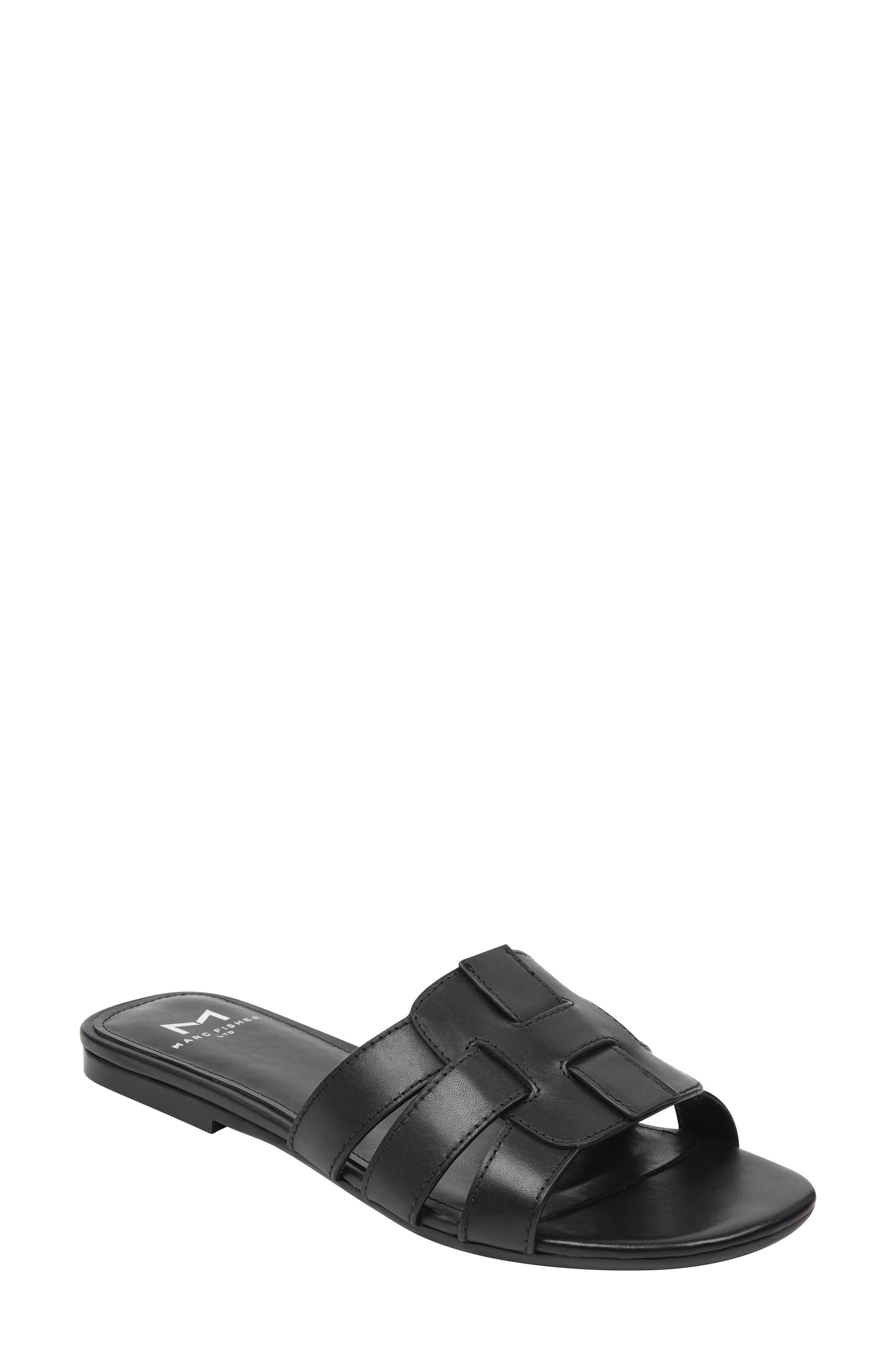 Kayli Slide Sandal, Main, color, BLACK LEATHER LEATHER
