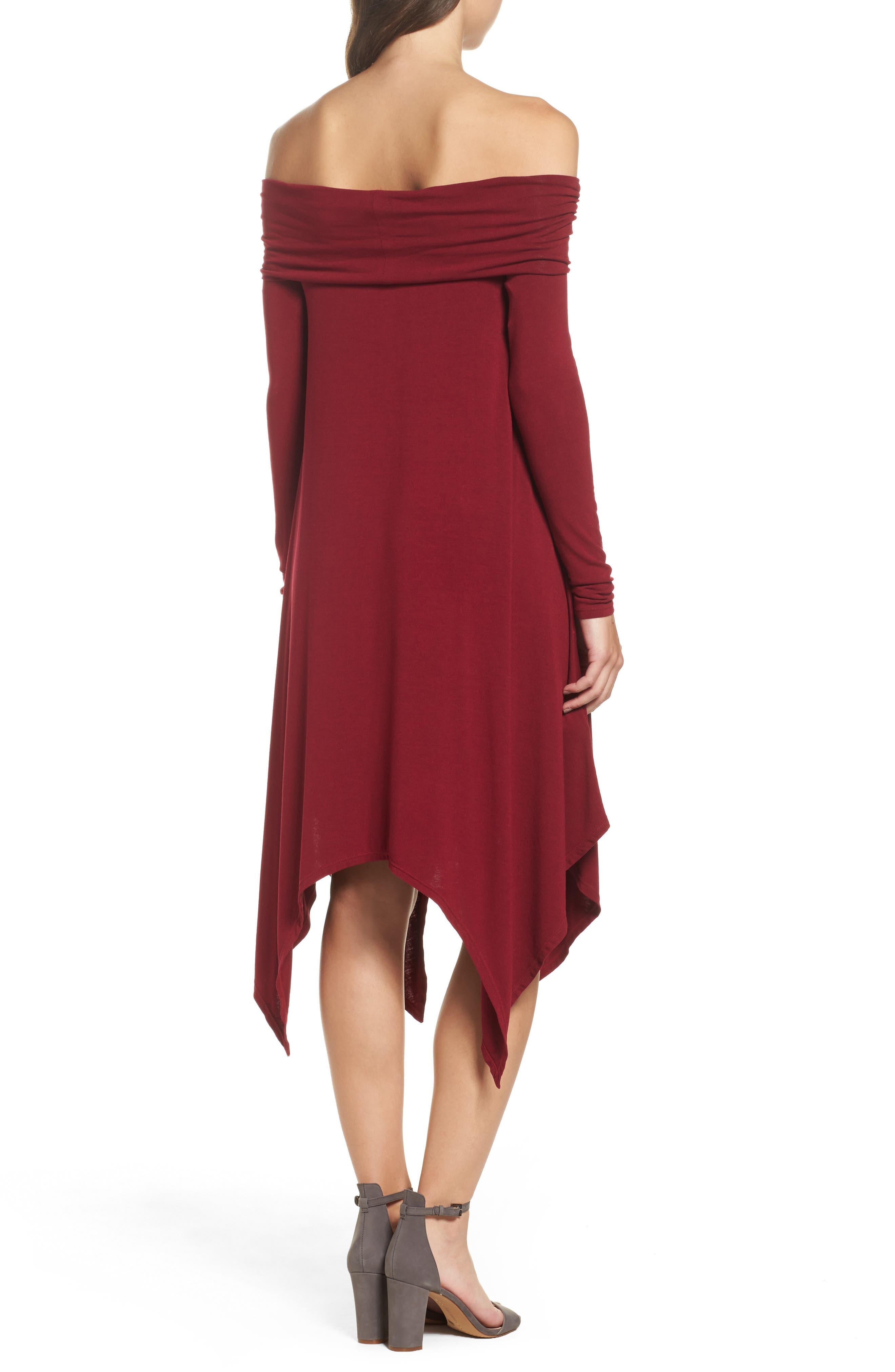 Off the Shoulder Knit A-Line Dress,                             Alternate thumbnail 2, color,                             600