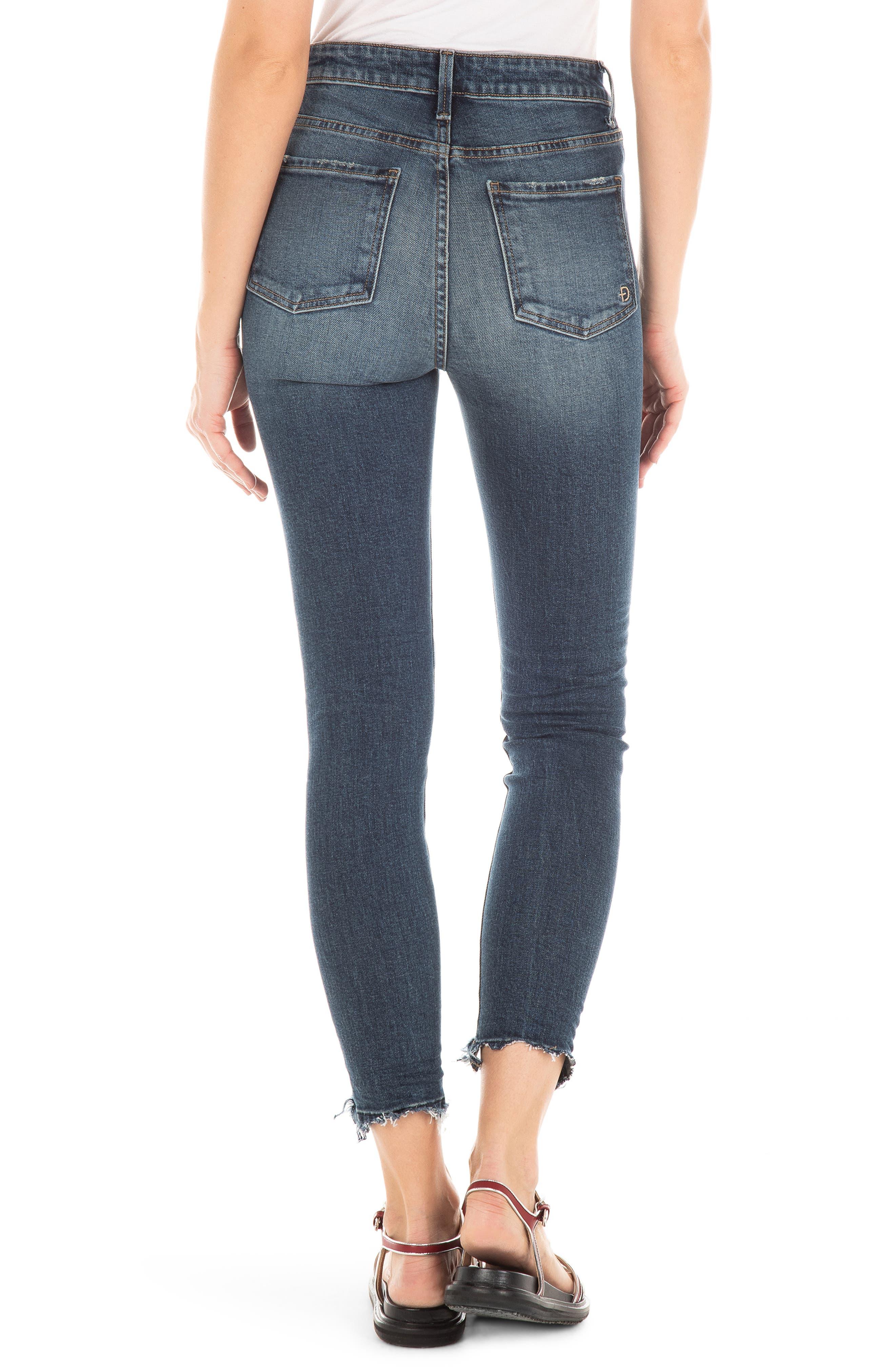 FIDELITY DENIM,                             Luna Ripped High Waist Crop Skinny Jeans,                             Alternate thumbnail 2, color,                             ROCKAWAY BLUE