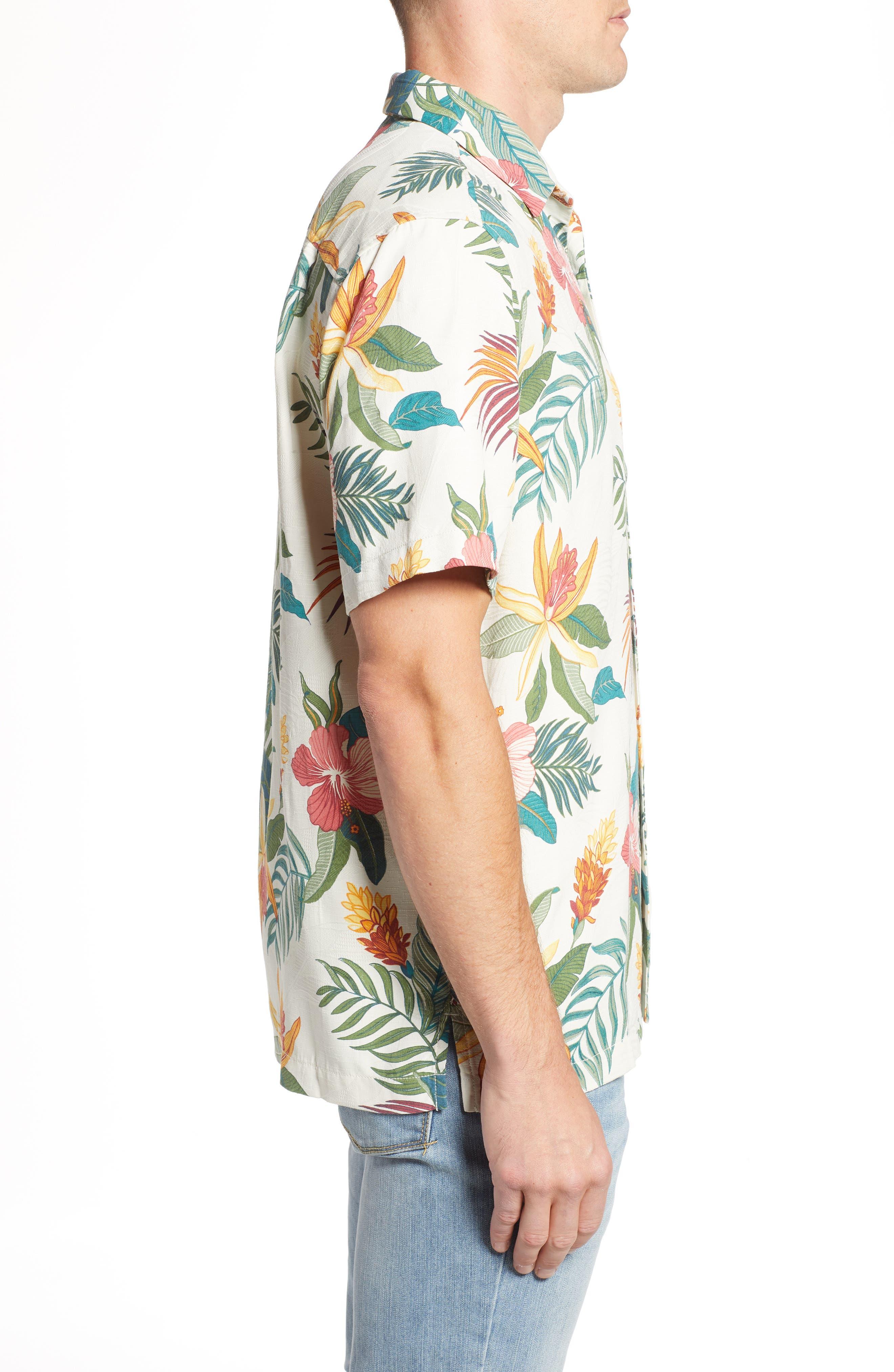 Beach Crest Blooms Short Sleeve Silk Blend Sport Shirt,                             Alternate thumbnail 3, color,                             CONTINENTAL