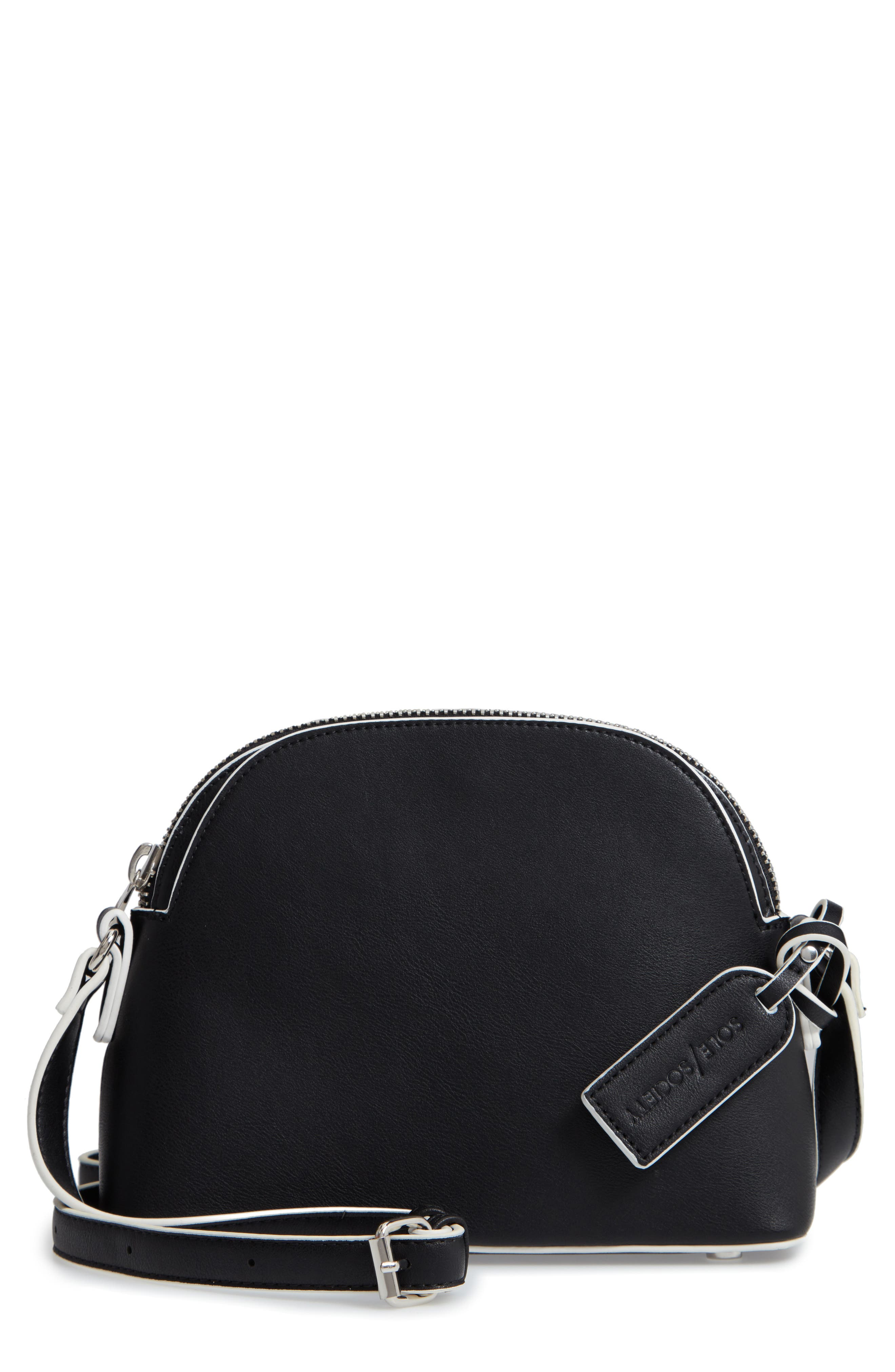 Faux Leather Crossbody Bag,                             Main thumbnail 1, color,                             001