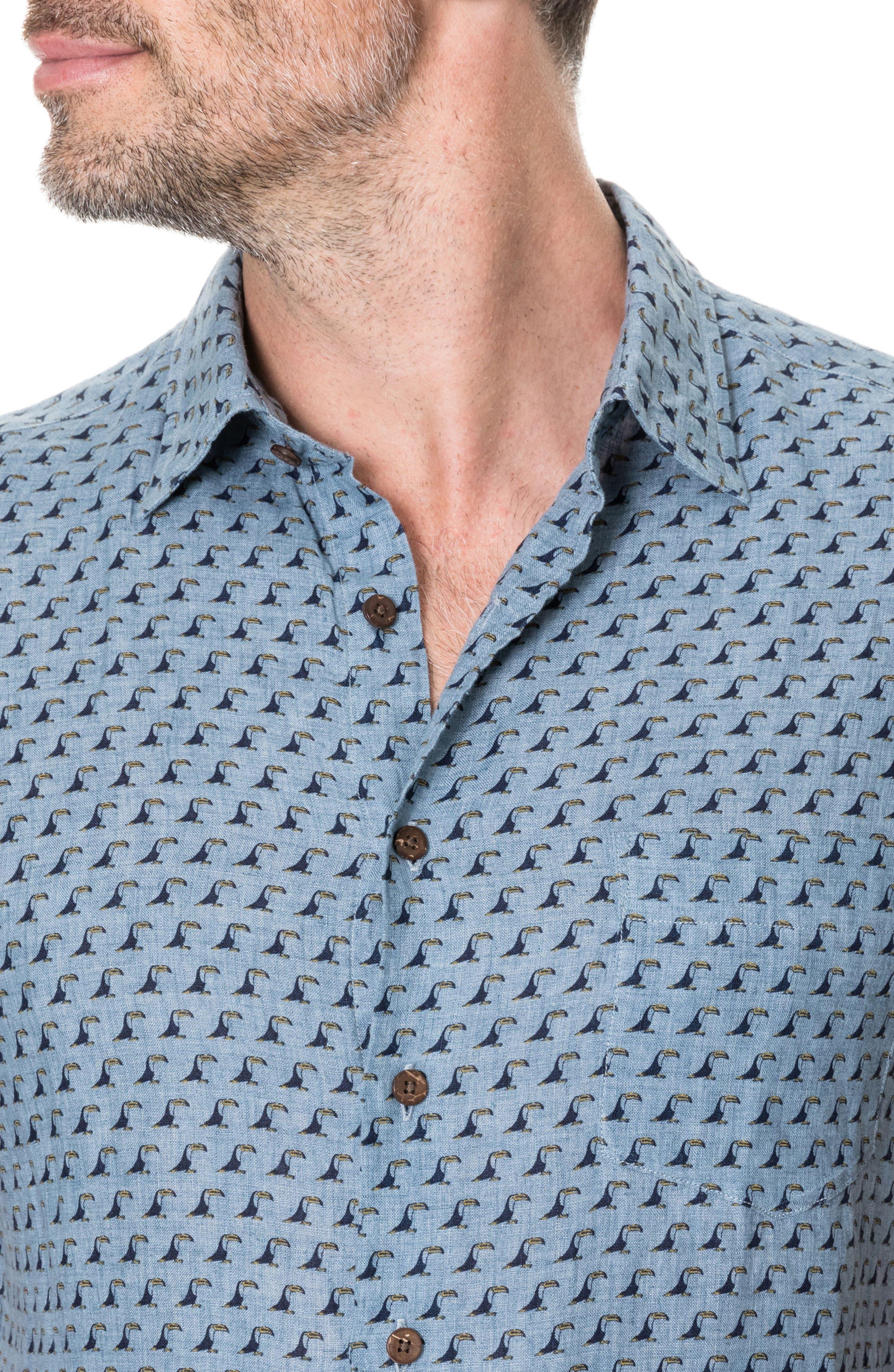 York Bay Slim Fit Print Linen Sport Shirt,                             Alternate thumbnail 3, color,                             457