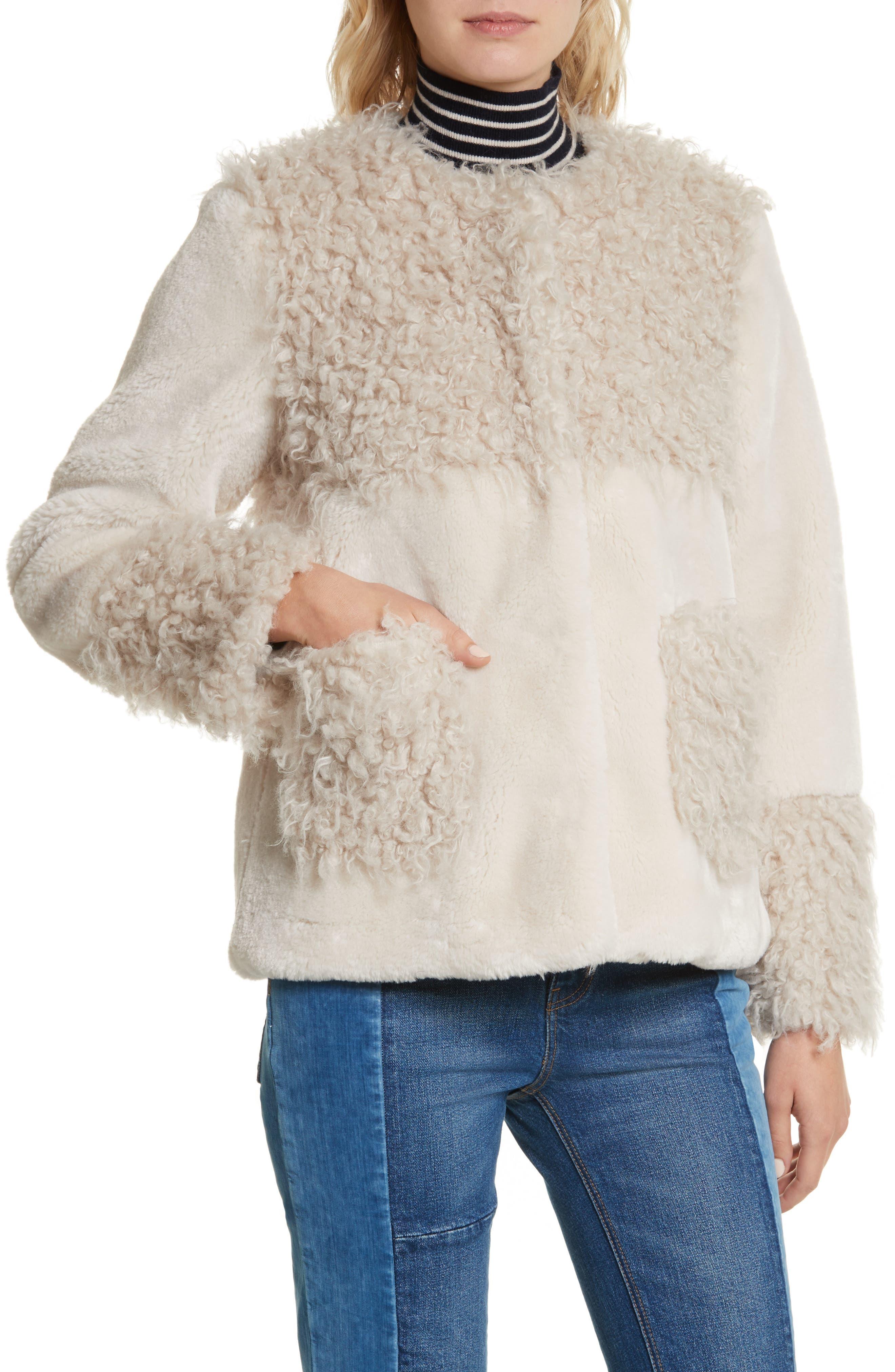 Mixed Faux Fur Coat,                             Alternate thumbnail 4, color,                             905