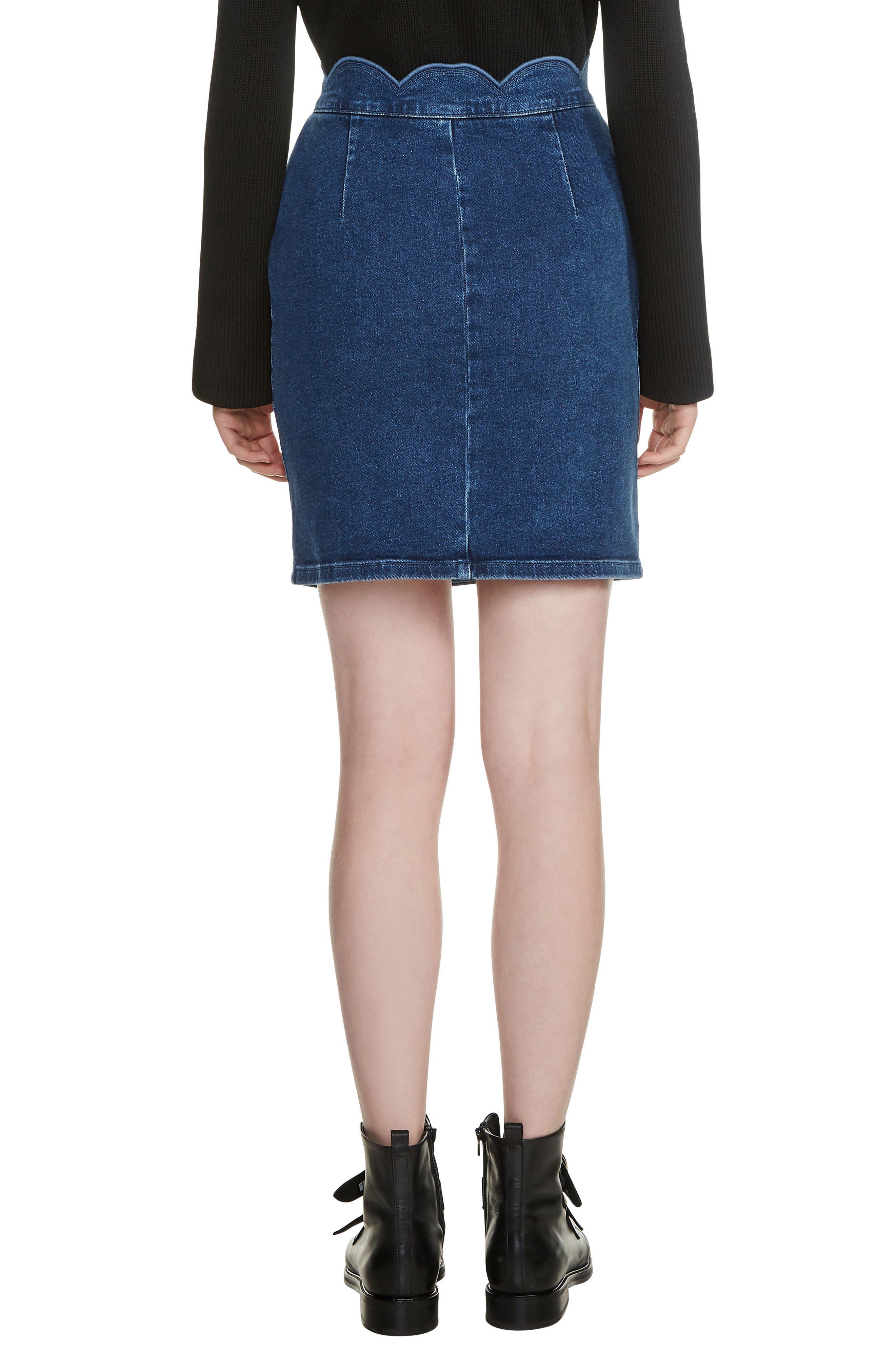 Jaron Scallop Waist Denim Skirt,                             Alternate thumbnail 2, color,                             400