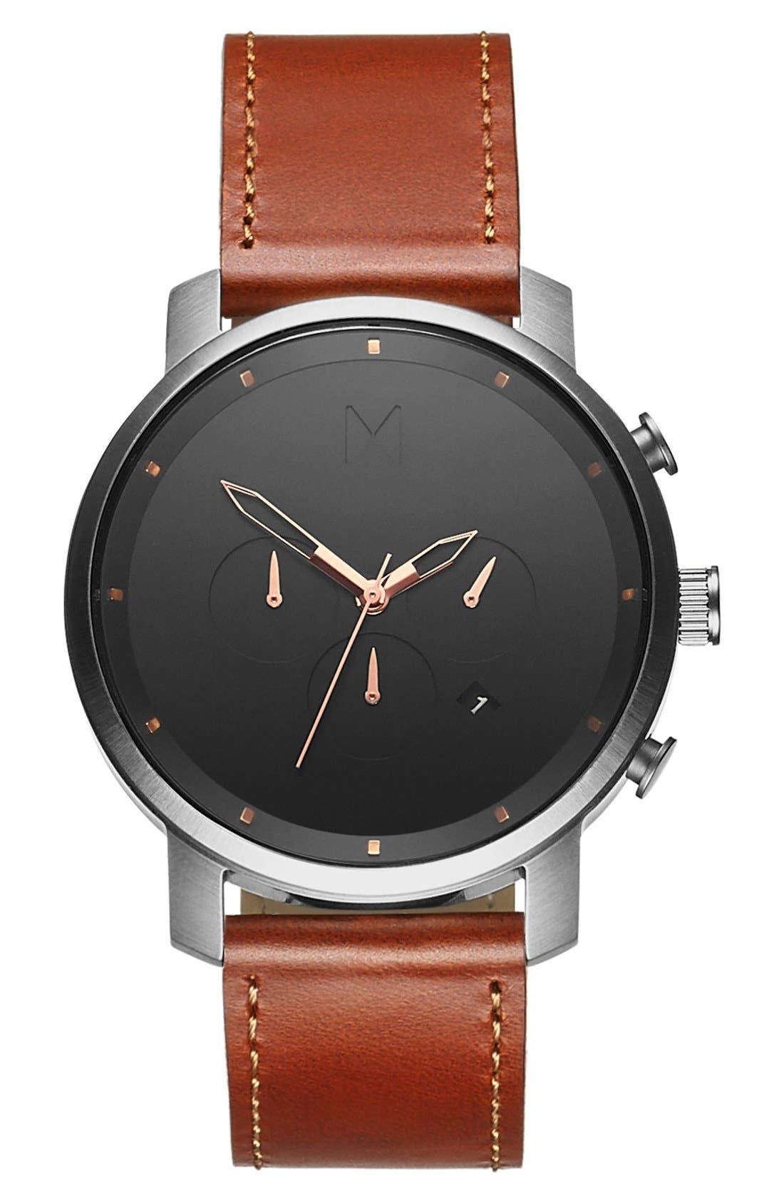 Chronograph Leather Strap Watch, 45mm,                         Main,                         color, 201