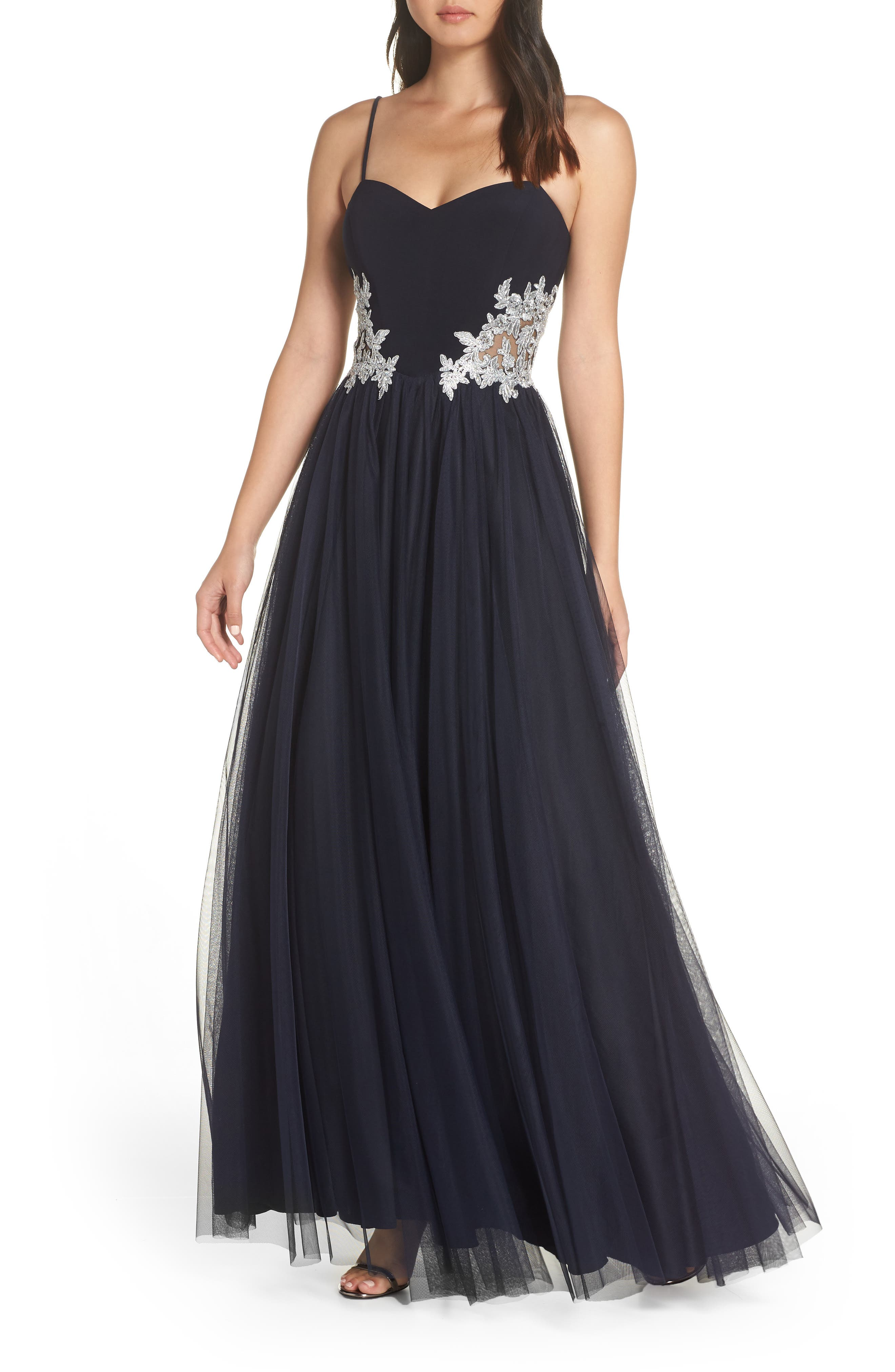Blondie Nights Embellished Tulle Gown,                             Main thumbnail 1, color,                             NAVY/ SILVER