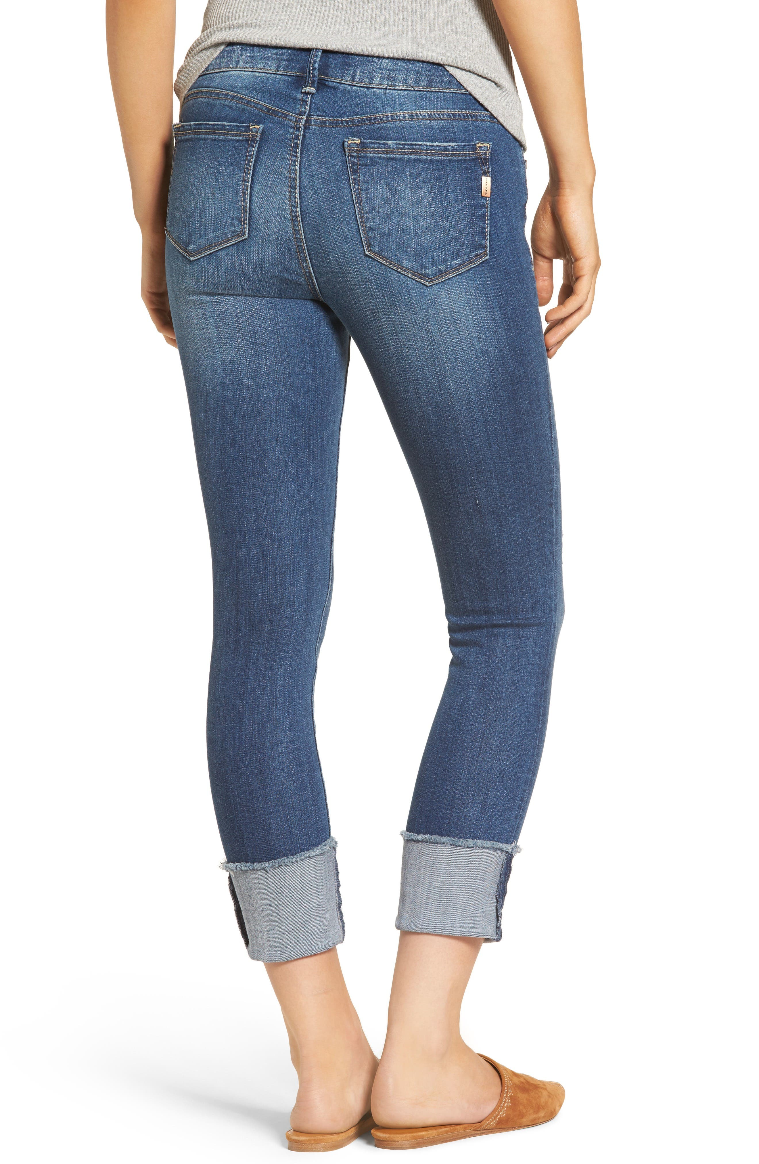 Cuffed Crop Skinny Jeans,                             Alternate thumbnail 2, color,                             IRENE