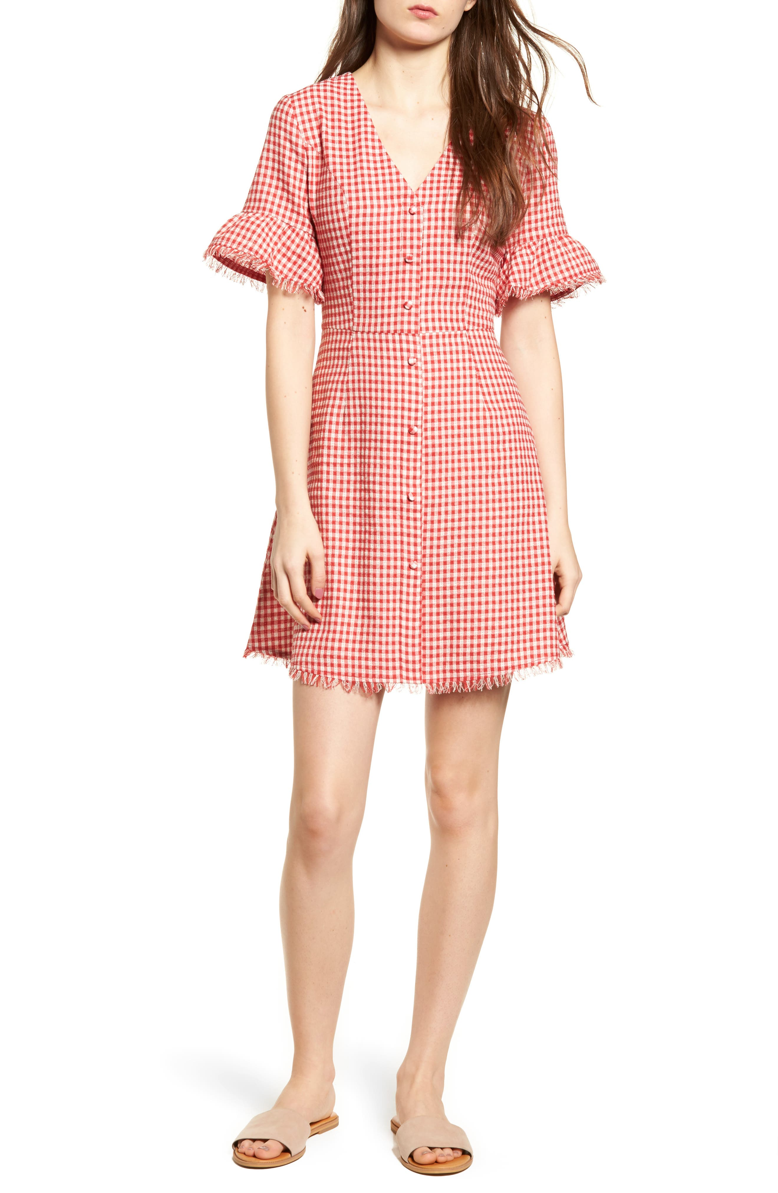 Gingham Ruffle Sleeve Dress,                             Main thumbnail 1, color,                             600