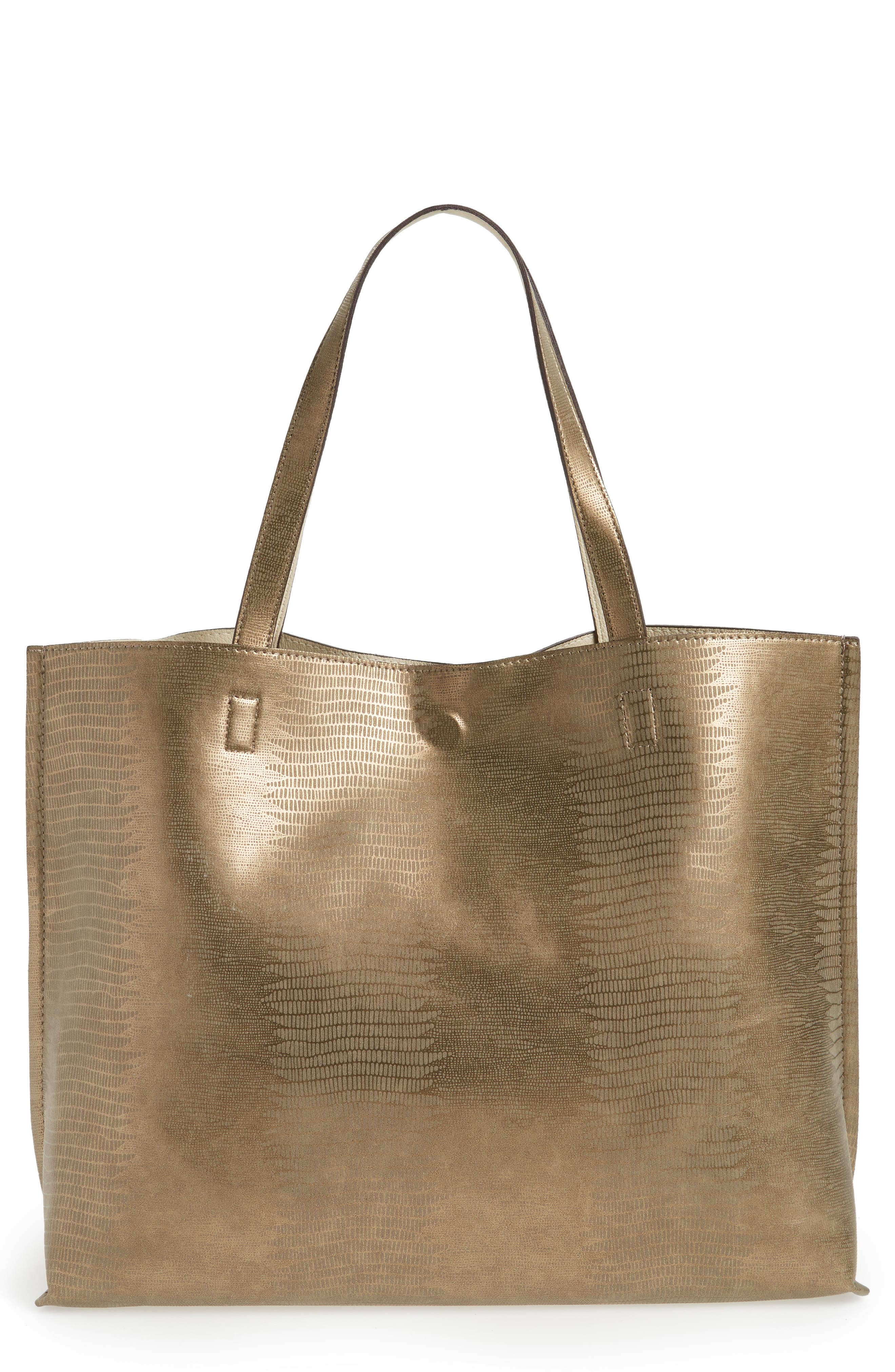 Reversible Faux Leather Tote,                             Main thumbnail 5, color,
