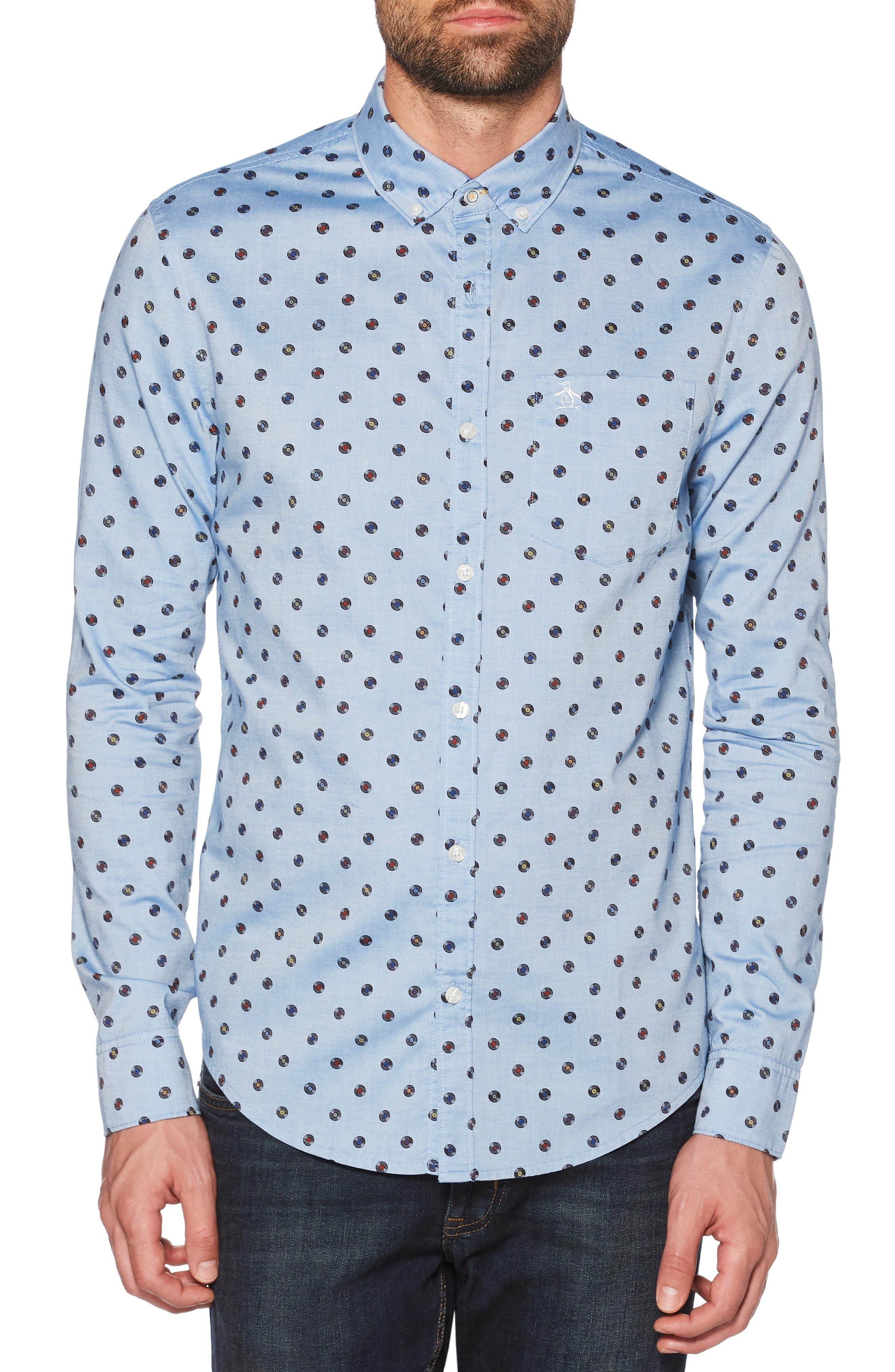 Records Print Sport Shirt,                             Main thumbnail 1, color,                             CLASSIC BLUE