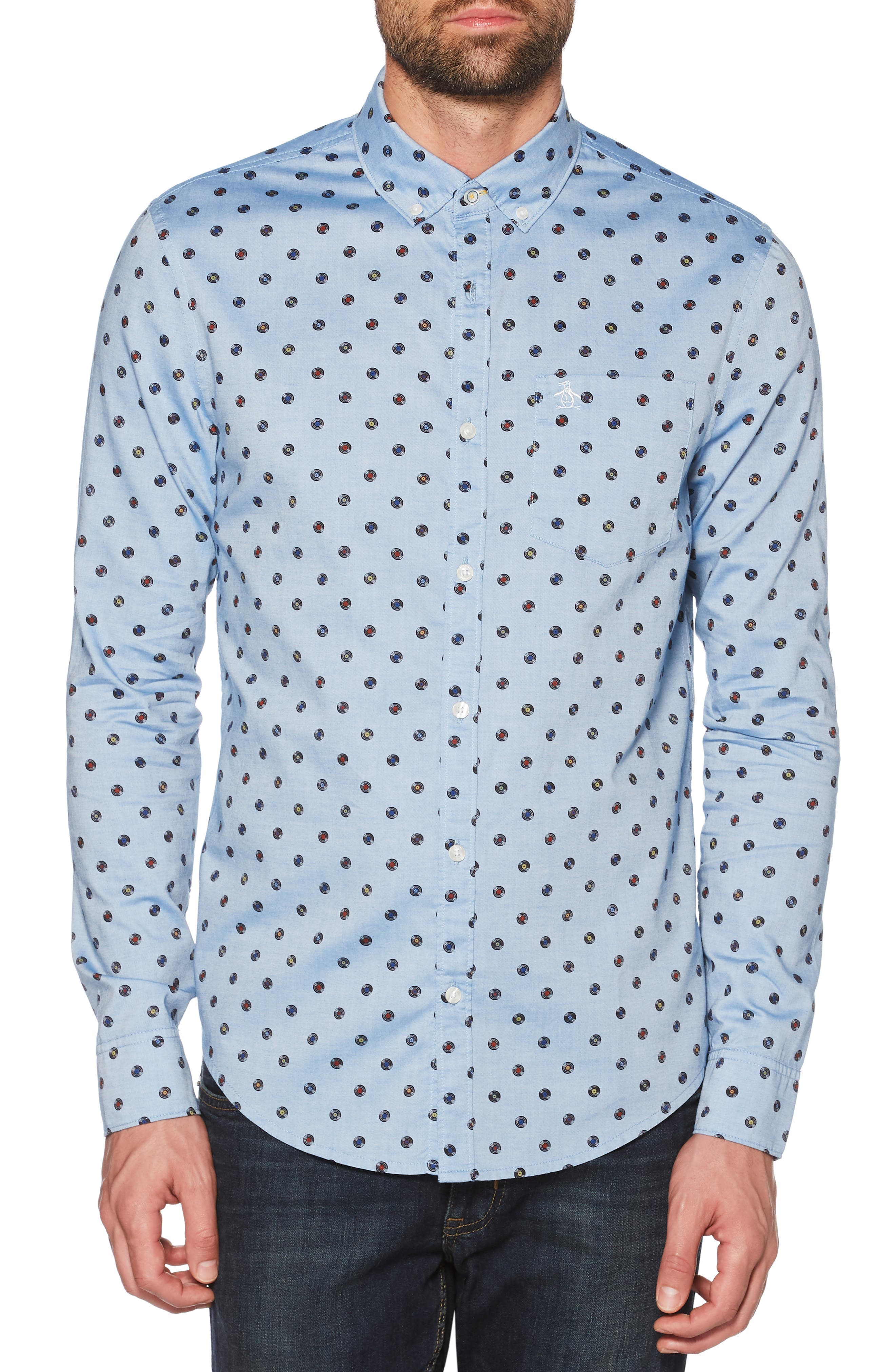 Records Print Sport Shirt,                         Main,                         color, CLASSIC BLUE