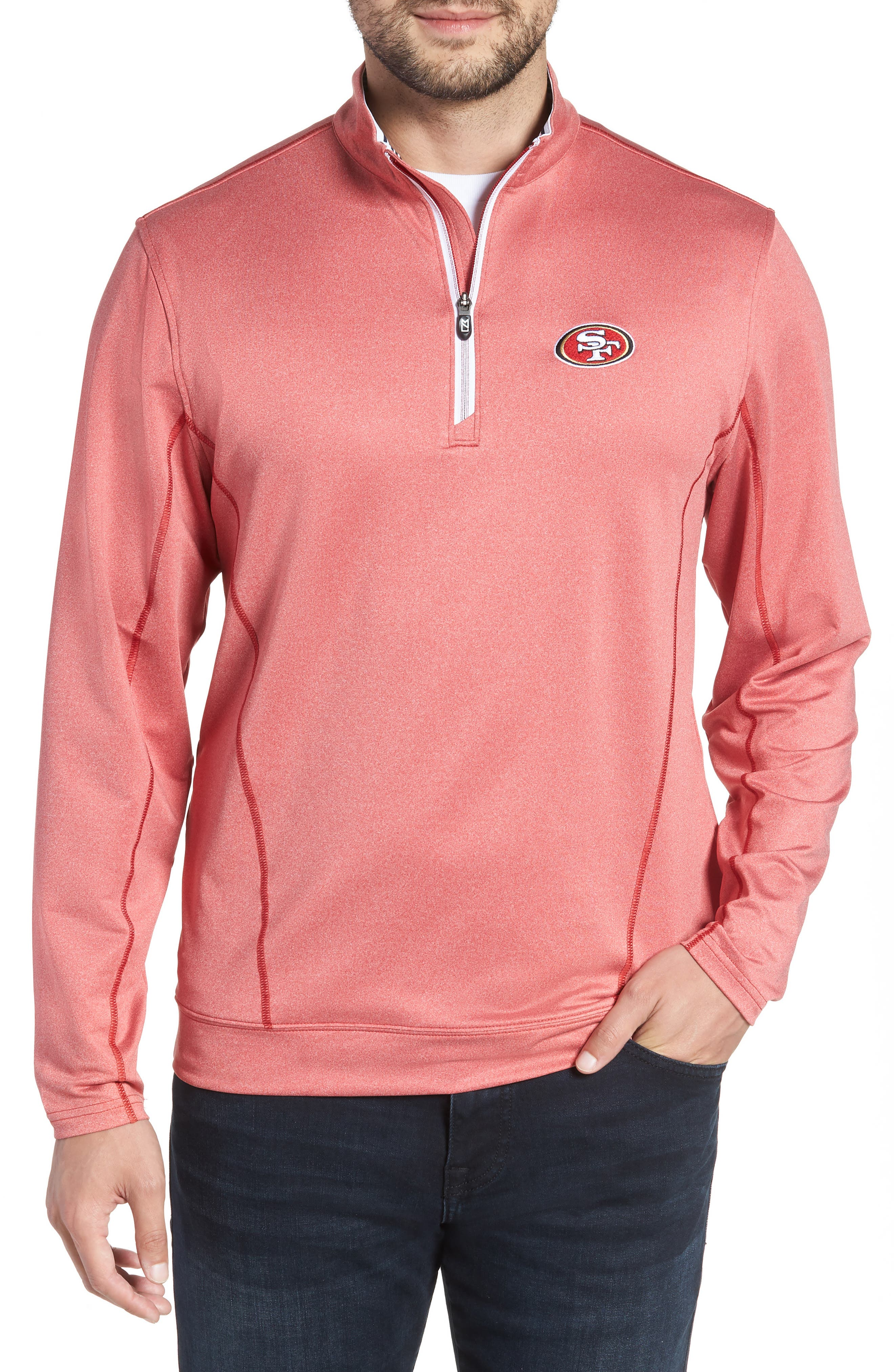Endurance San Francisco 49s Regular Fit Pullover,                             Main thumbnail 1, color,                             CARDINAL RED HEATHER