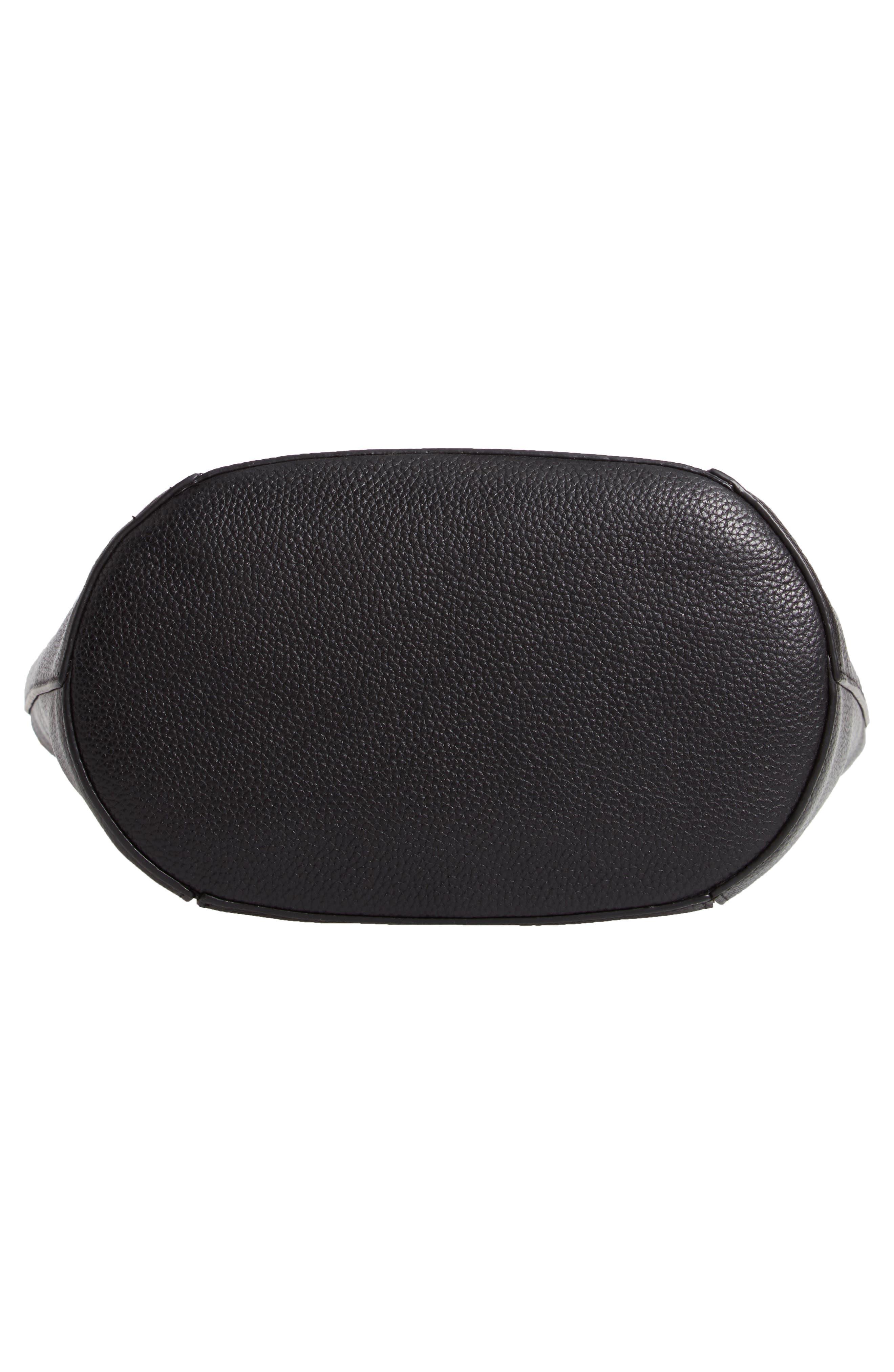 Loraine Leather Bucket Bag,                             Alternate thumbnail 6, color,                             BLACK