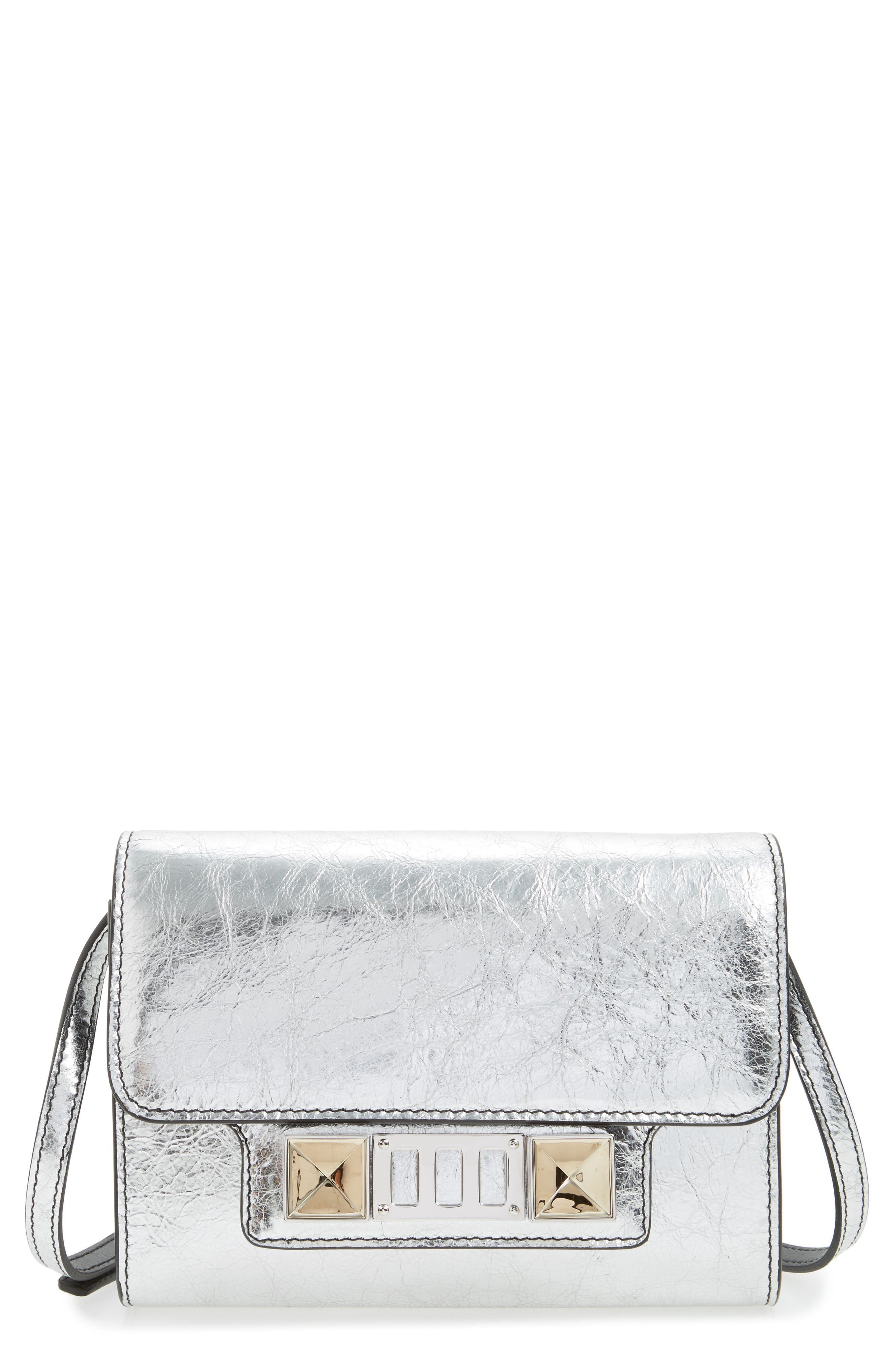 PS11 Leather Crossbody Wallet,                         Main,                         color, SILVER