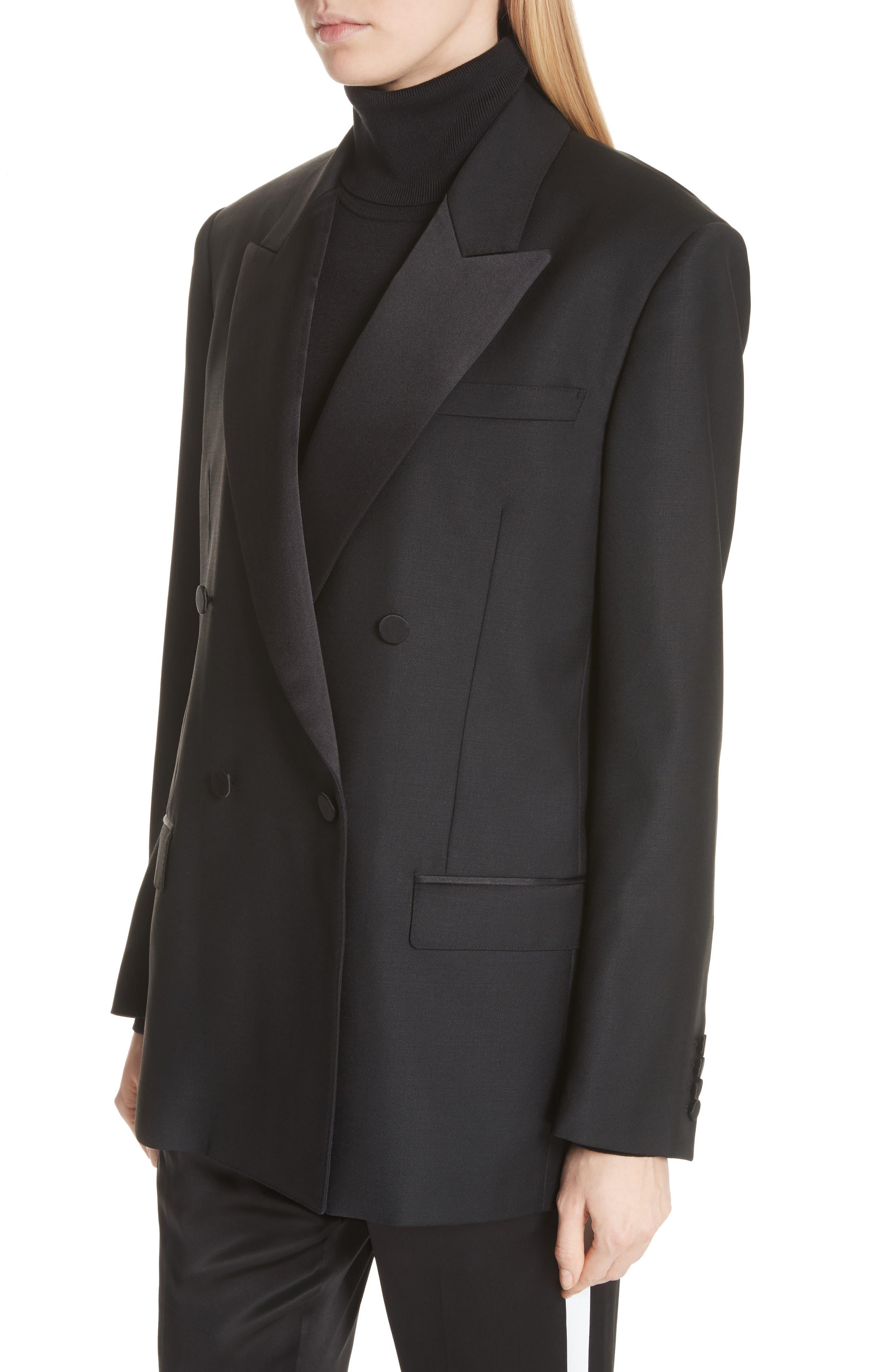 Thompson Wool & Mohair Blazer,                             Alternate thumbnail 4, color,                             BLACK