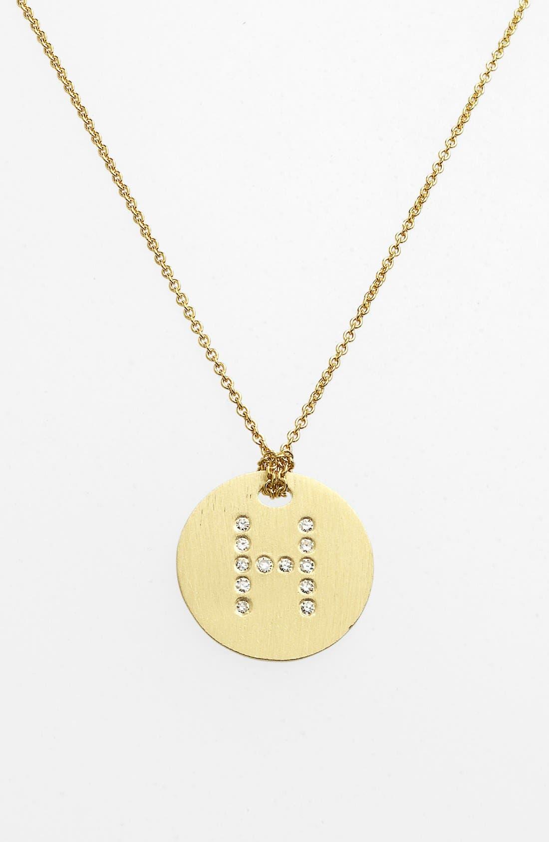 'Tiny Treasures' Diamond Initial Disc Pendant Necklace,                         Main,                         color, H