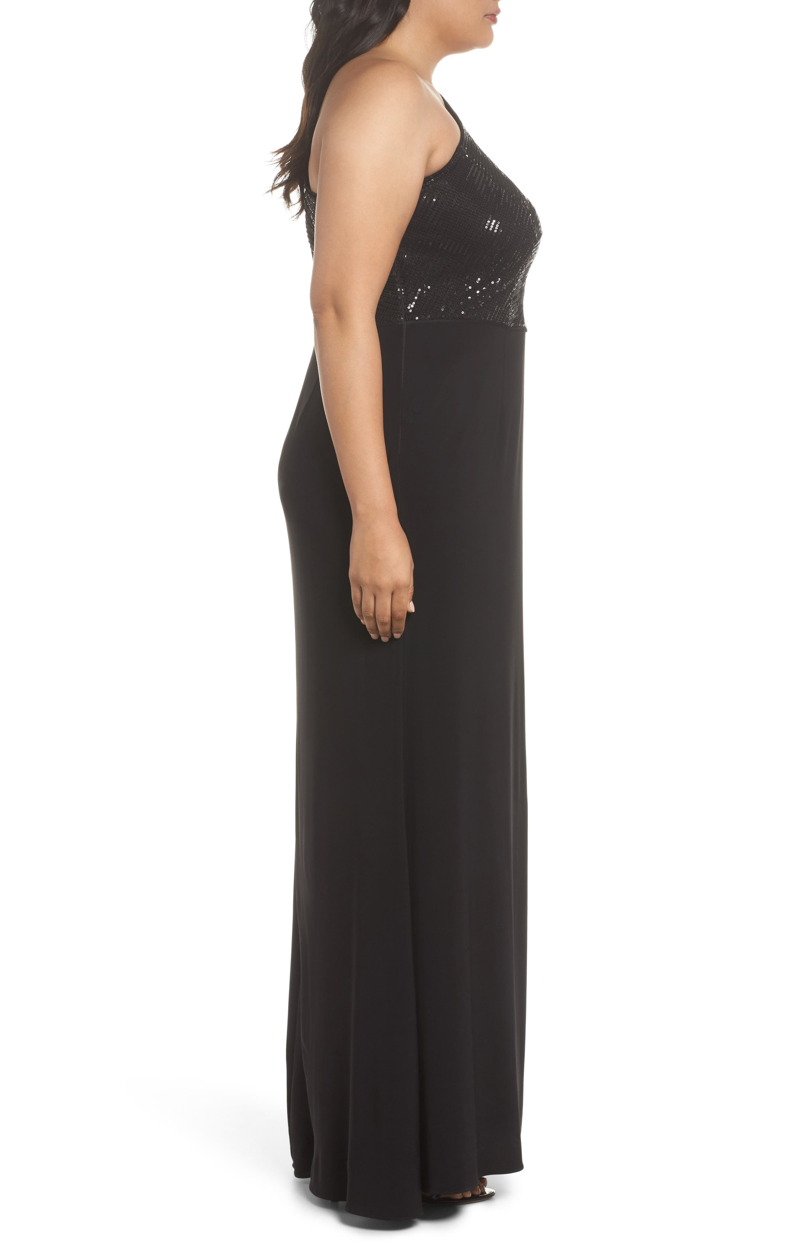 Sequin & Jersey One-Shoulder Gown,                             Alternate thumbnail 3, color,                             002