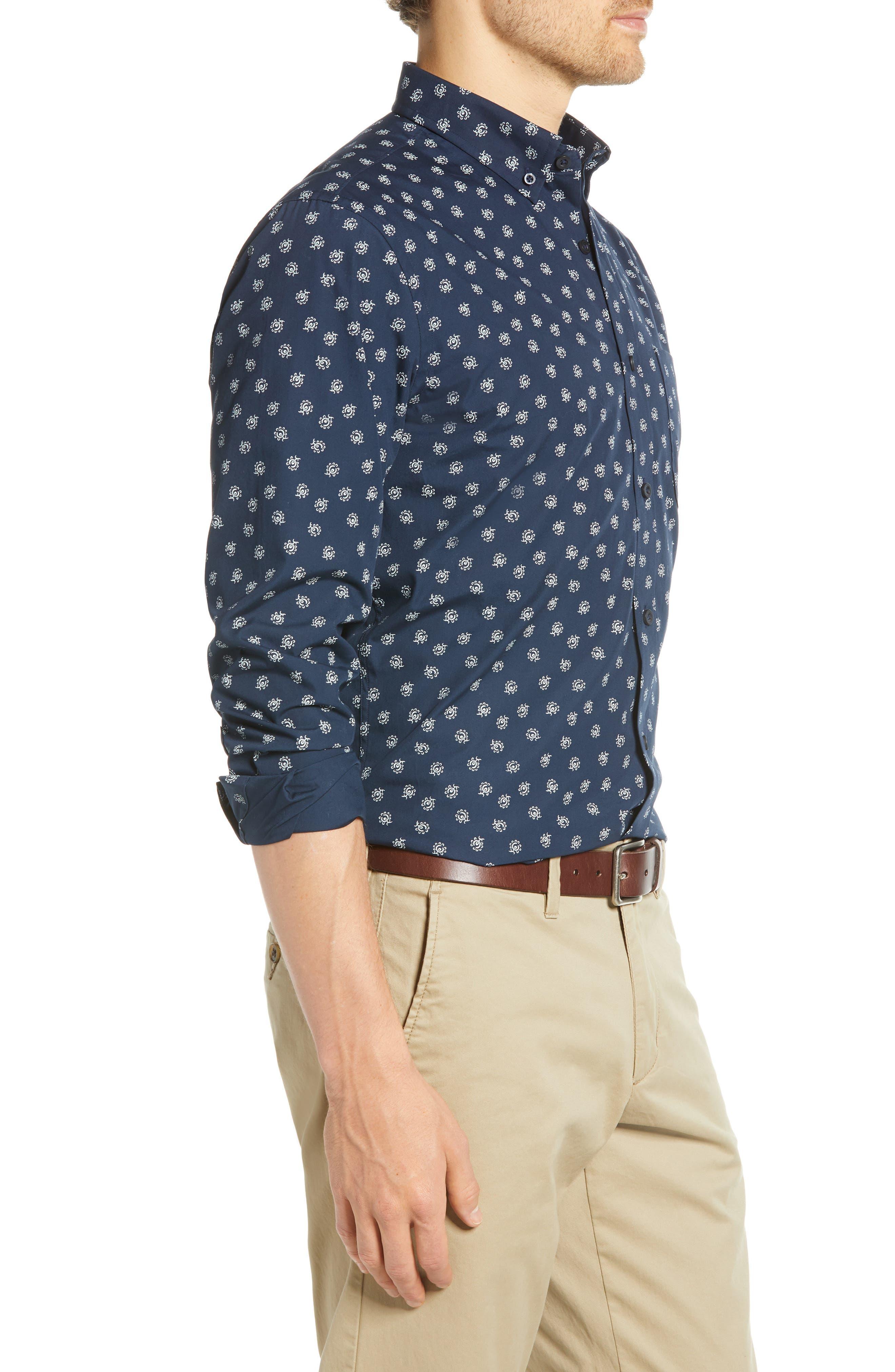 Floral Print Sport Shirt,                             Alternate thumbnail 4, color,                             NAVY IRIS FLORAL PRINT