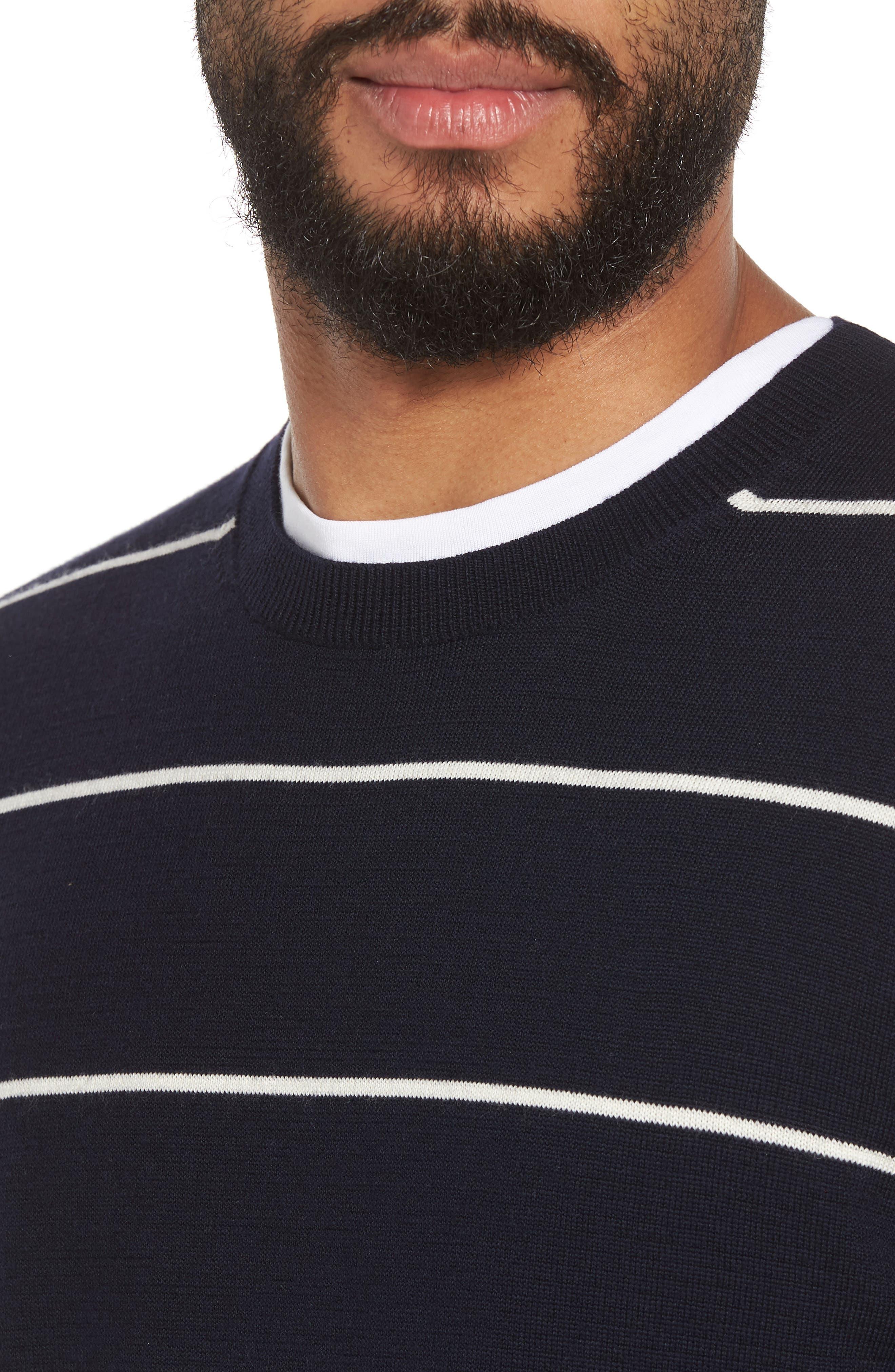 Slim Fit Stripe Crewneck Sweater,                             Alternate thumbnail 4, color,                             477