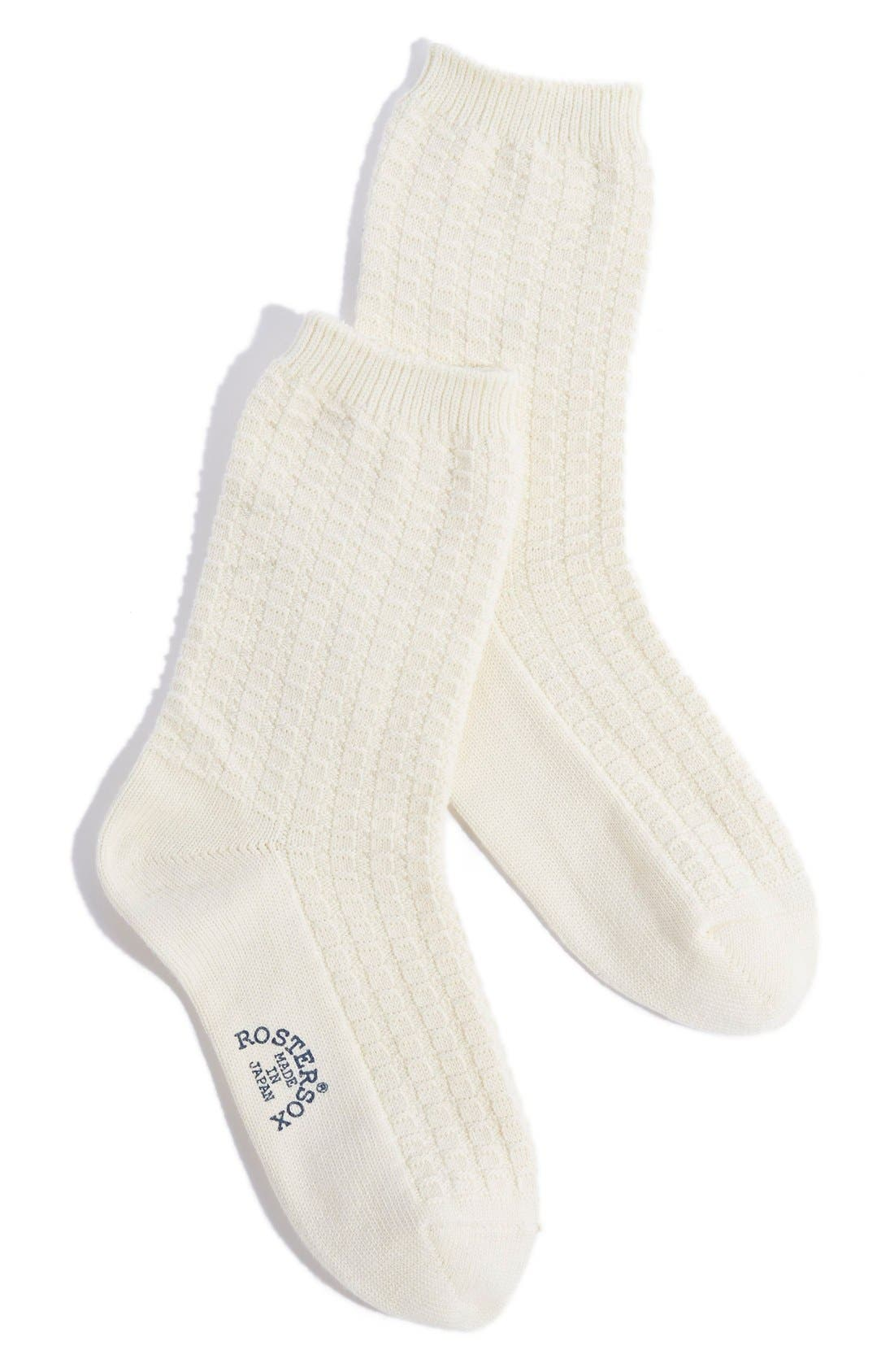 Waffle Knit Crew Socks, Main, color, 100
