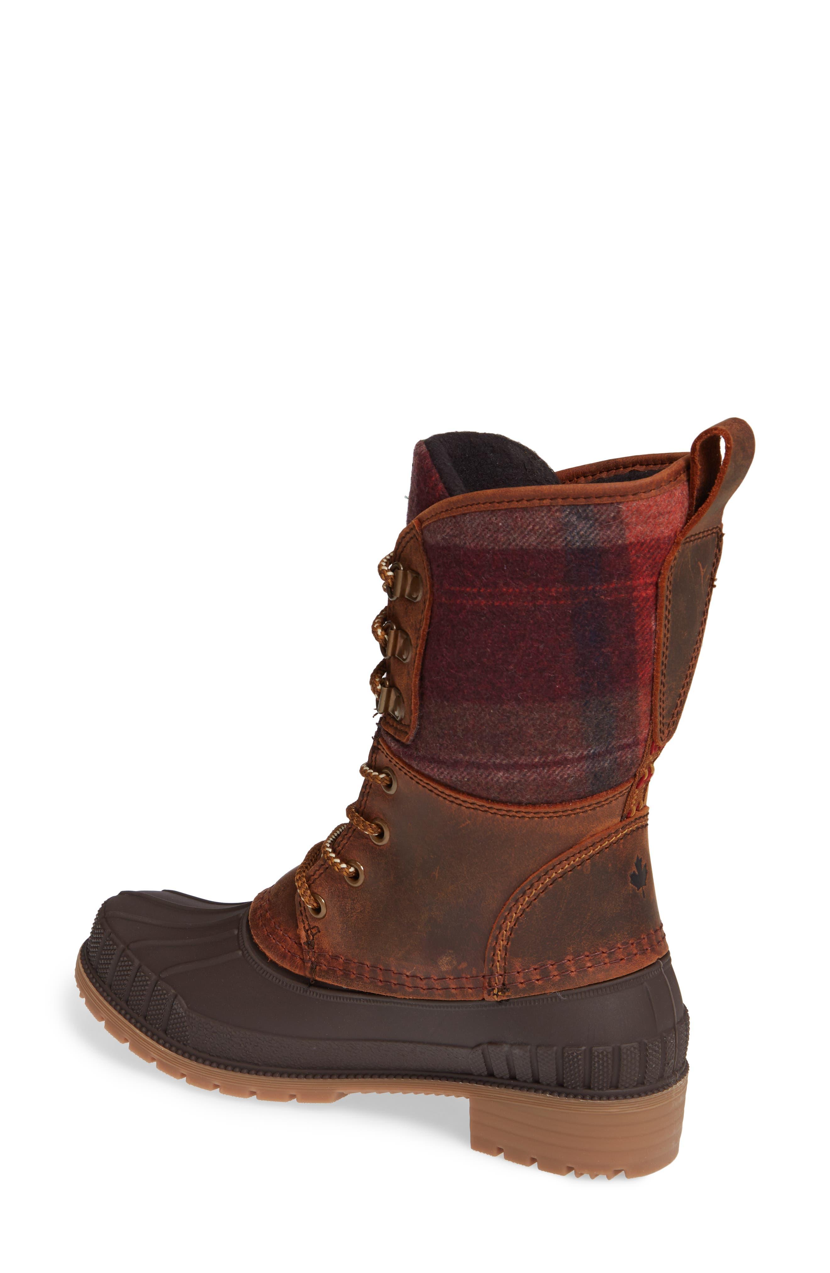 Sienna 2 Duck Waterproof Boot,                             Alternate thumbnail 2, color,                             DARK BROWN LEATHER