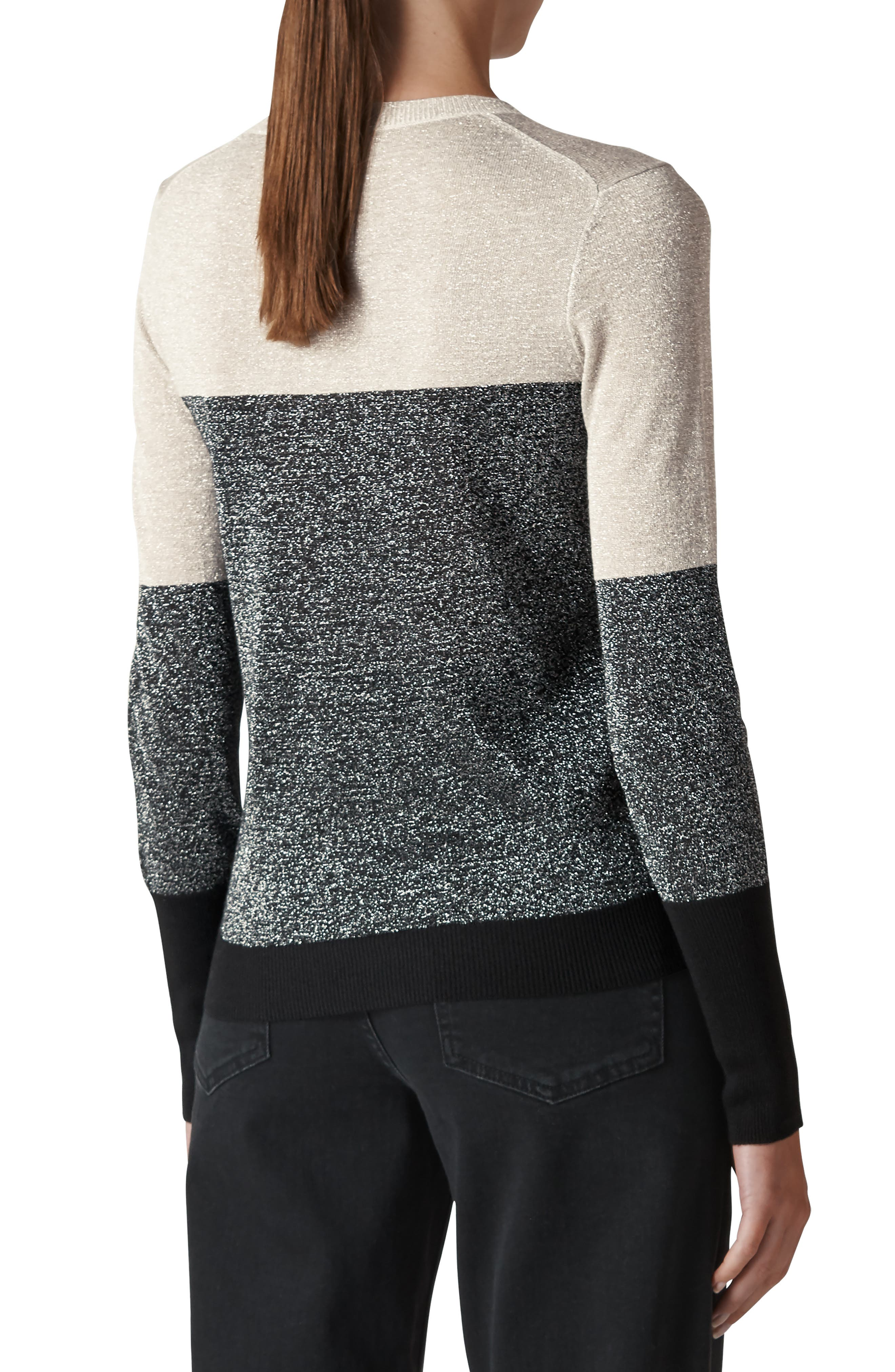 WHISTLES,                             Colorblock Sparkle Sweater,                             Alternate thumbnail 2, color,                             022