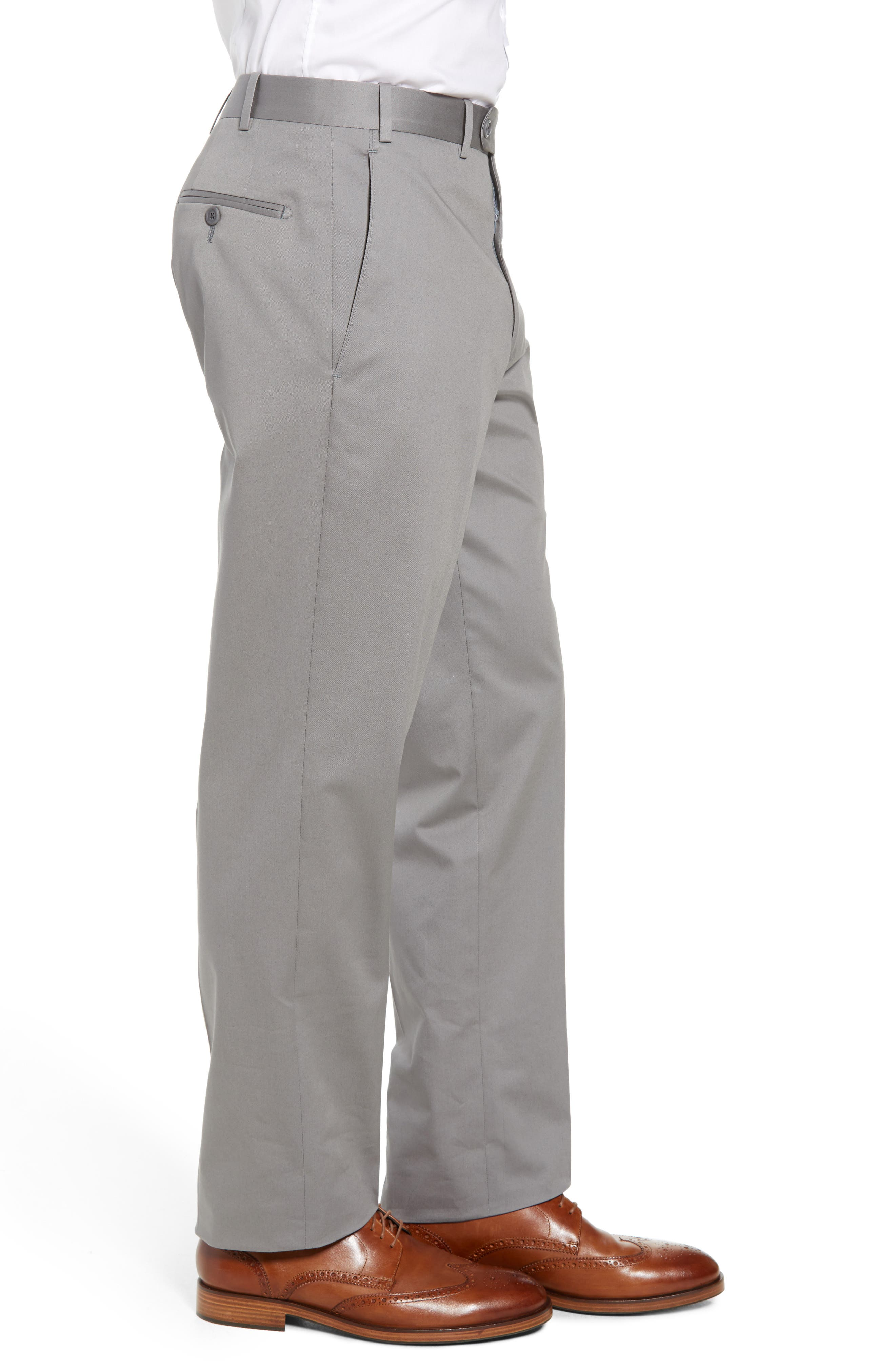 Torino Traditional Fit Flat Front Solid Stretch Cotton Trousers,                             Alternate thumbnail 3, color,                             GREY