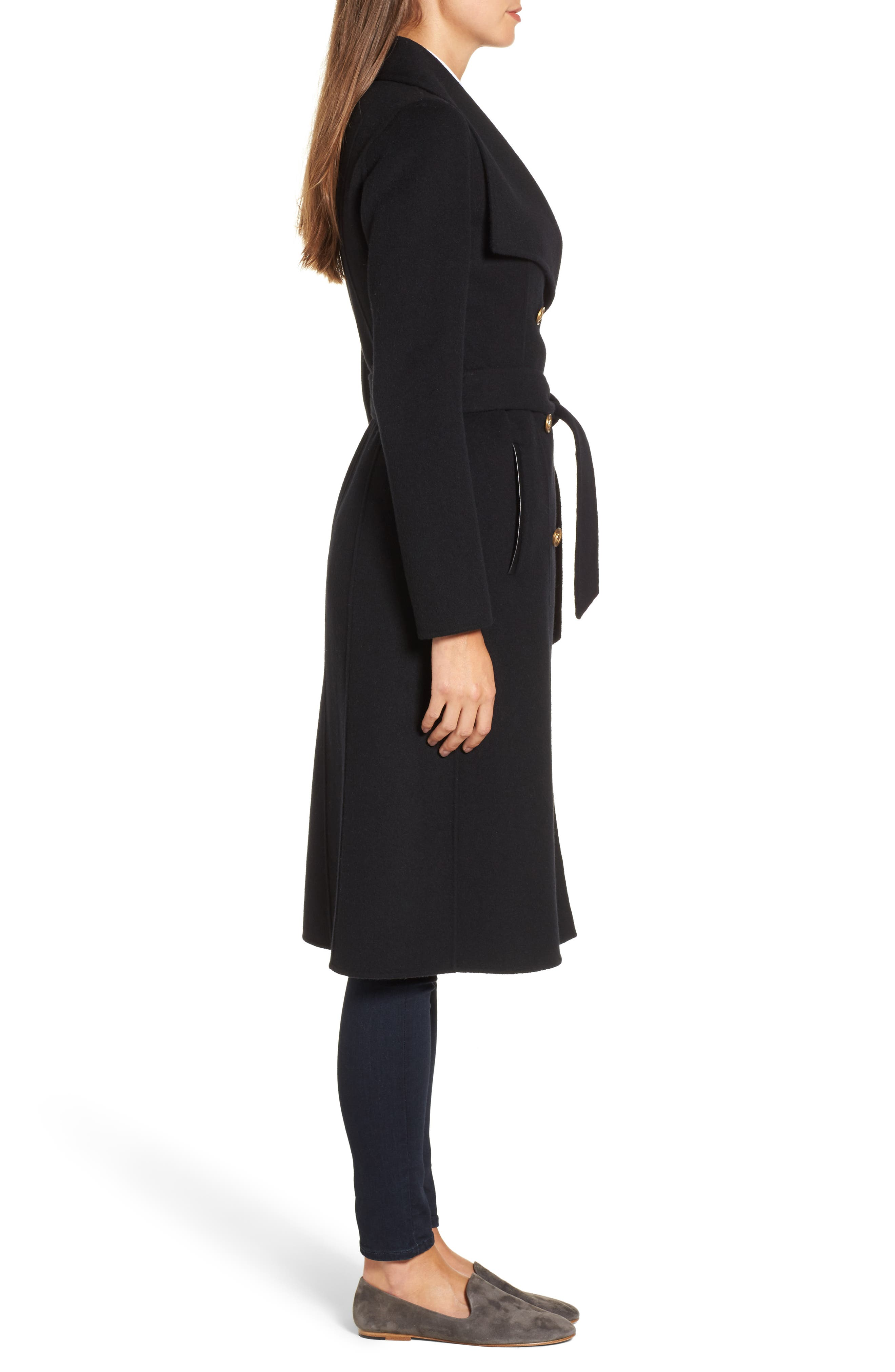 Norah-N Double Breasted Wool Blend Long Military Coat,                             Alternate thumbnail 3, color,                             001