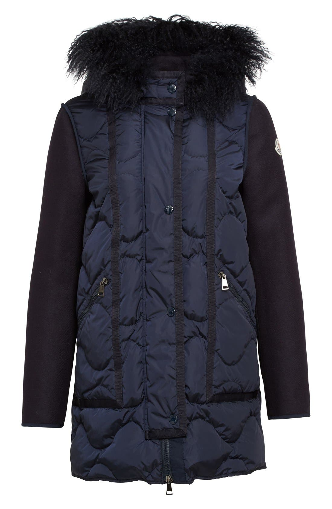 Theodora Water Resistant Hooded Jacket with Genuine Mongolian Fur Trim,                             Alternate thumbnail 4, color,                             419