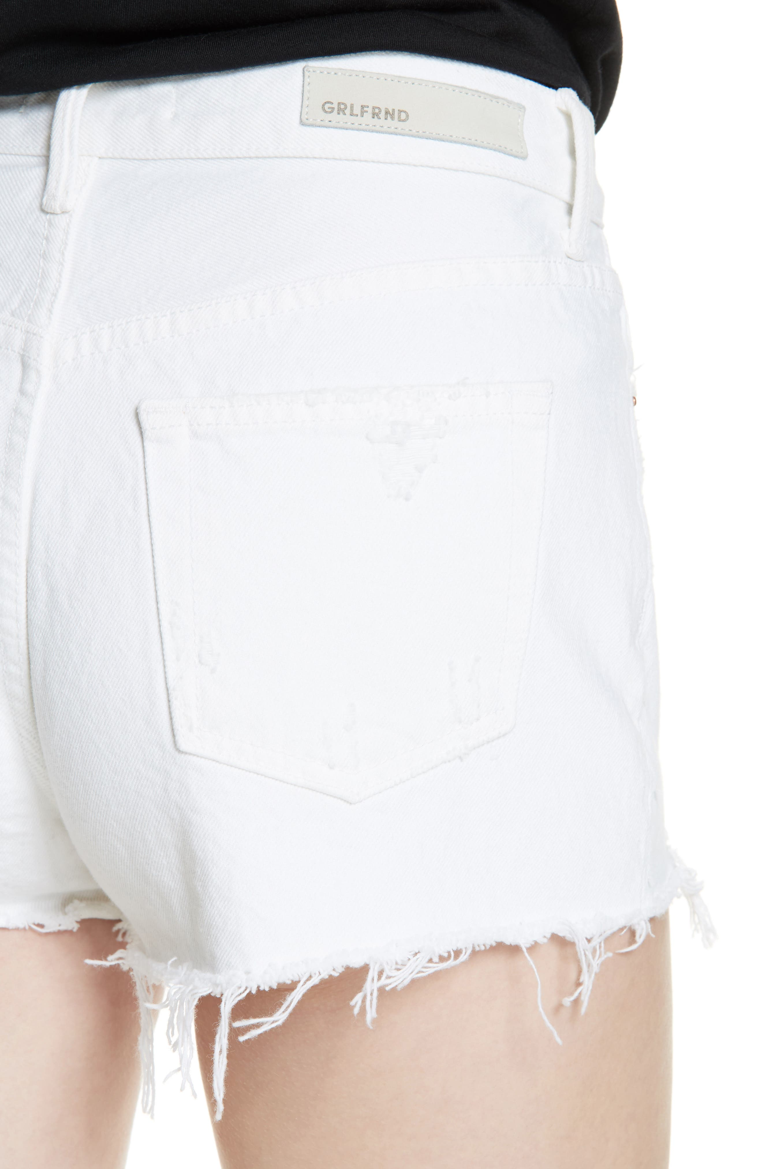 Cindy Rigid High Waist Denim Shorts,                             Alternate thumbnail 4, color,                             GRANADA