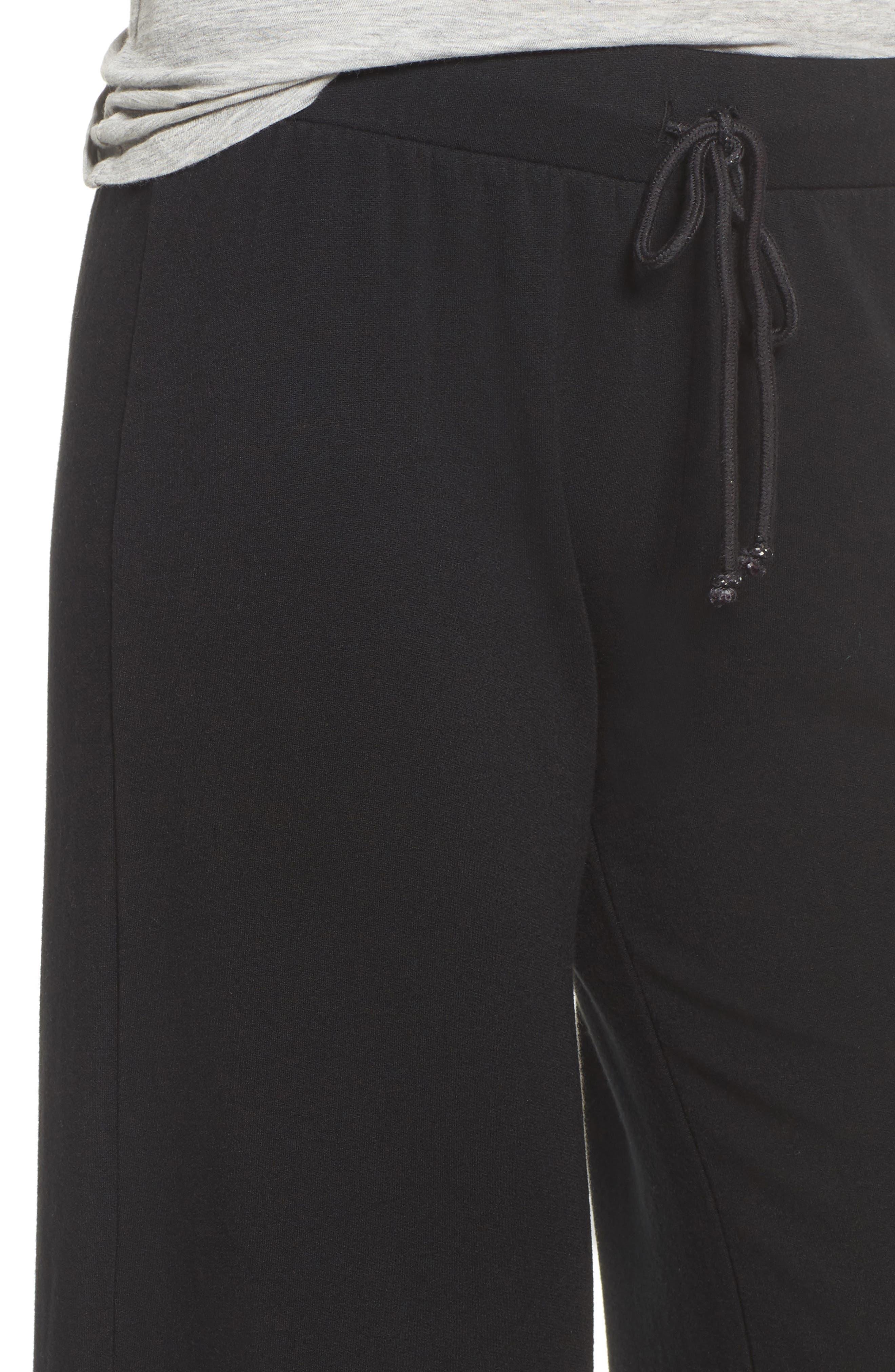 Drawstring Waist Wide Leg Pants,                             Alternate thumbnail 4, color,                             001