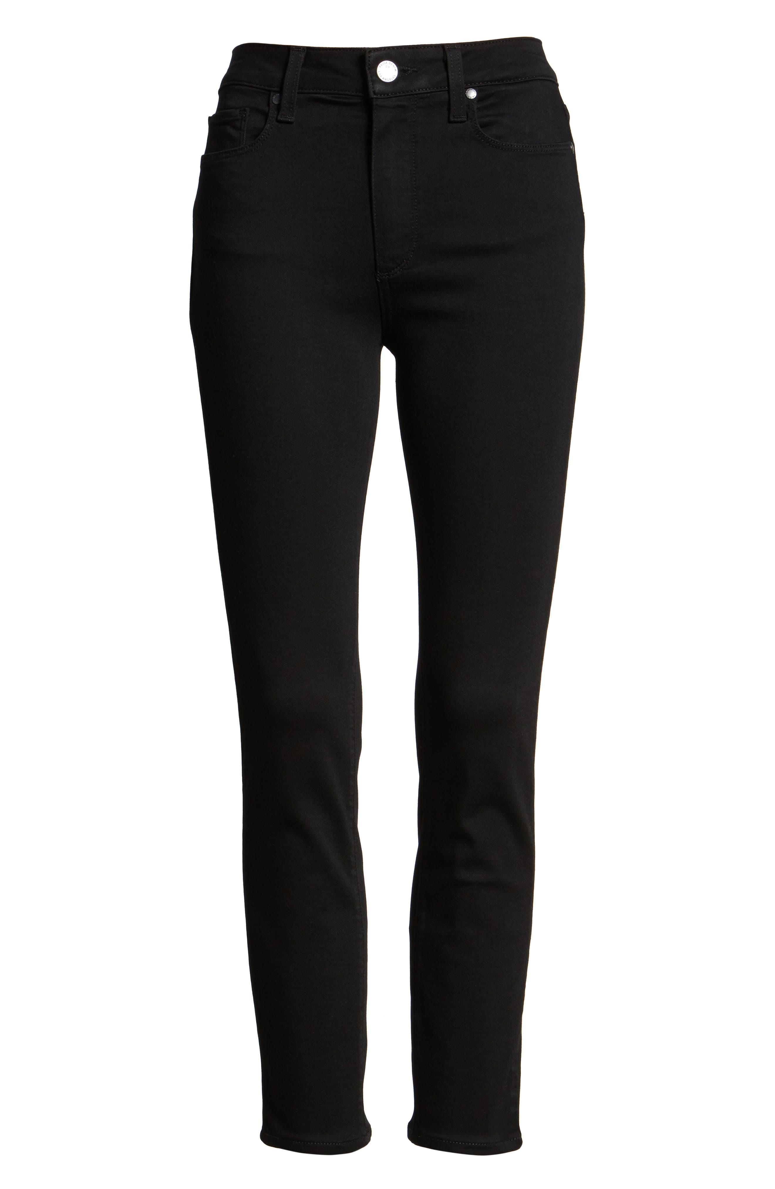 Hoxton Transcend High Waist Crop Skinny Jeans,                             Alternate thumbnail 6, color,                             BLACK SHADOW
