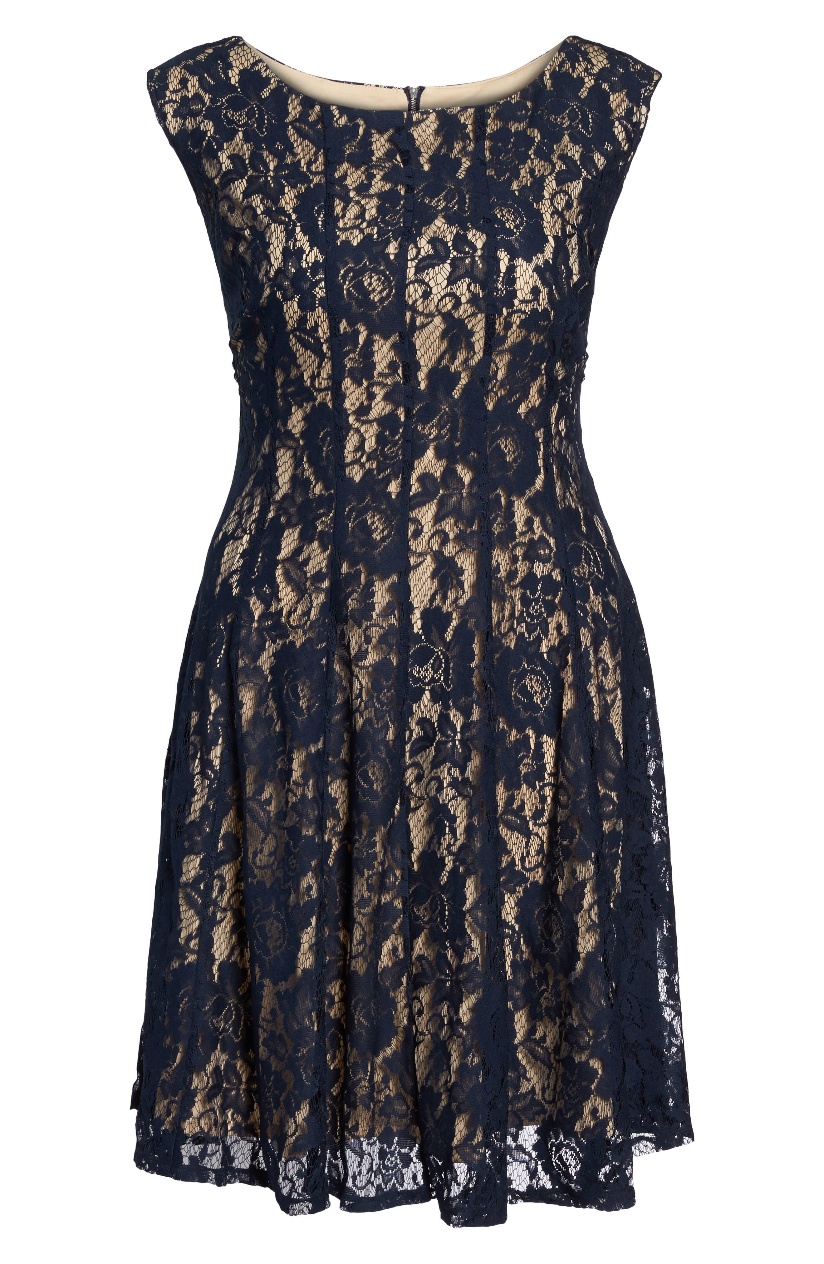 Lace Fit & Flare Dress,                             Alternate thumbnail 6, color,                             410