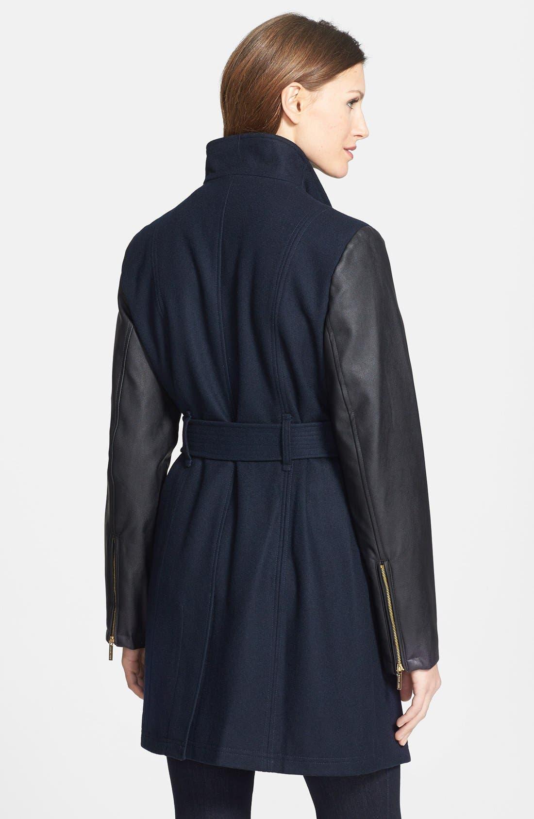 Wool Blend & Faux Leather Coat,                             Alternate thumbnail 3, color,                             410
