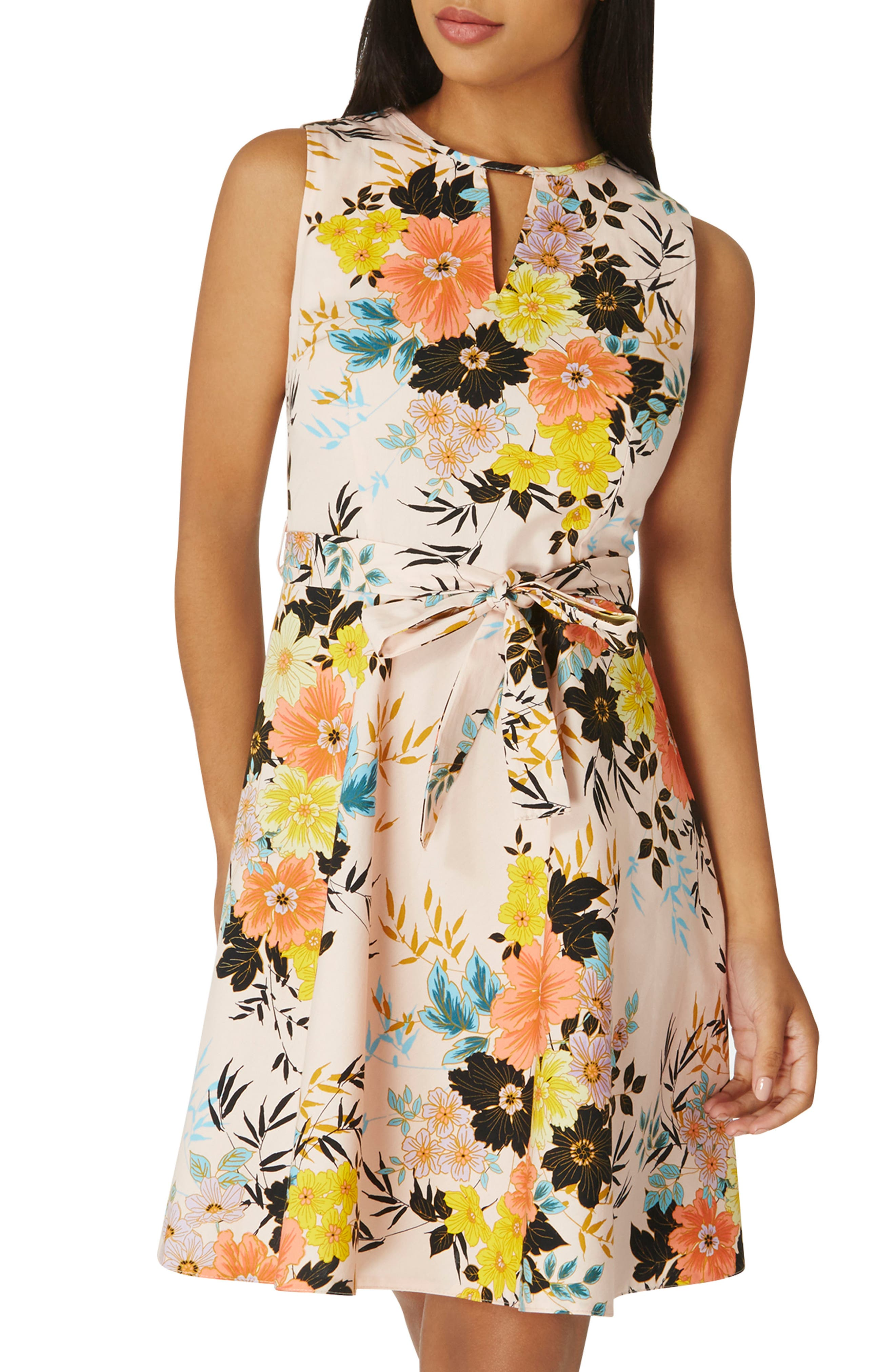 Floral Poplin Wrap Dress,                             Alternate thumbnail 3, color,