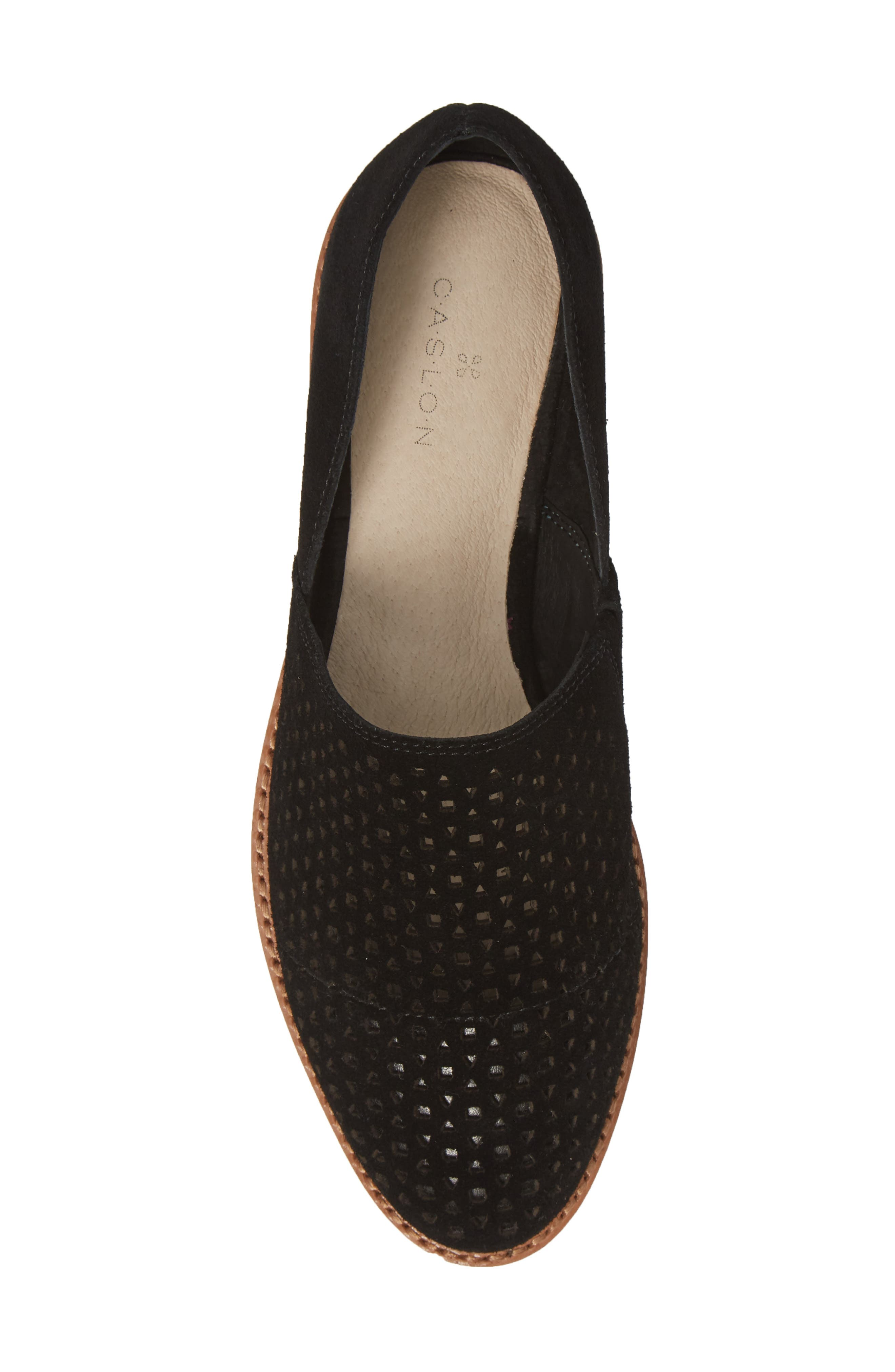 CASLON<SUP>®</SUP>,                             Adrian Perforated Flat,                             Alternate thumbnail 5, color,                             BLACK SUEDE