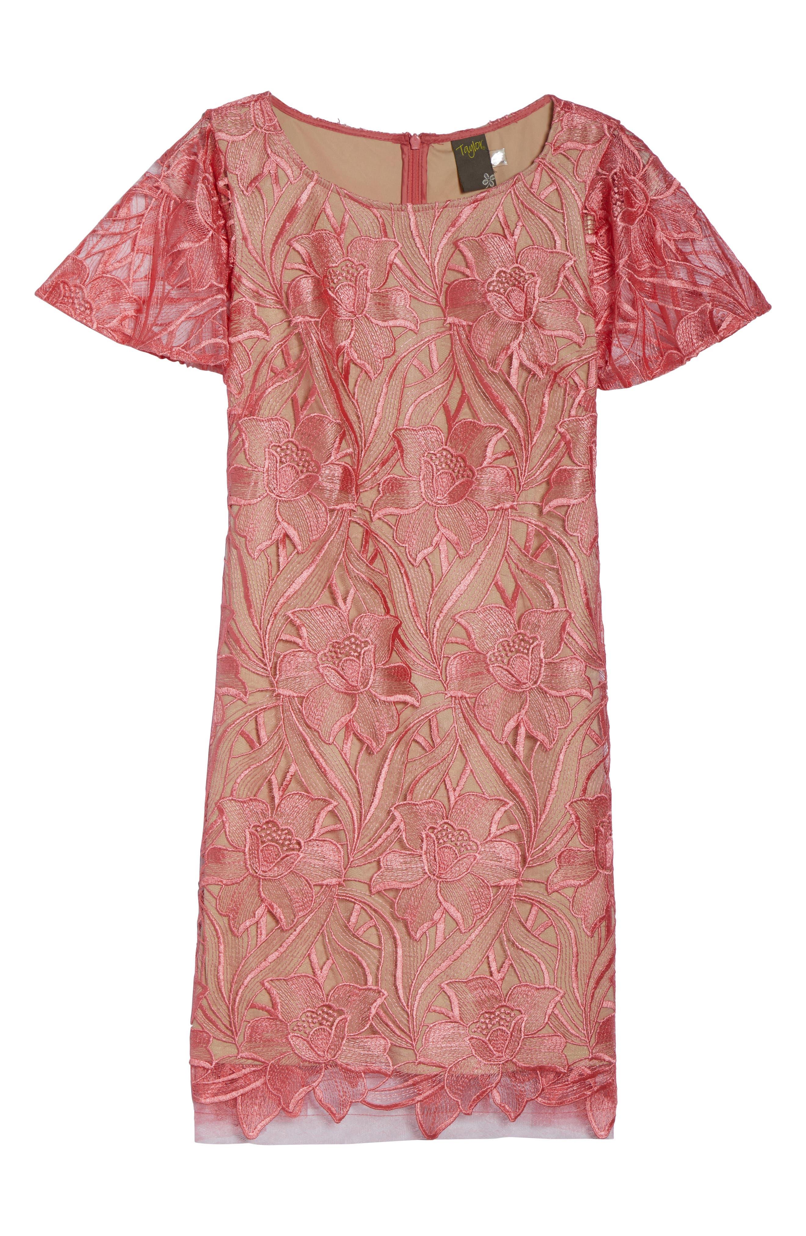 Floral Mesh Lace Shift Dress,                             Alternate thumbnail 7, color,                             950
