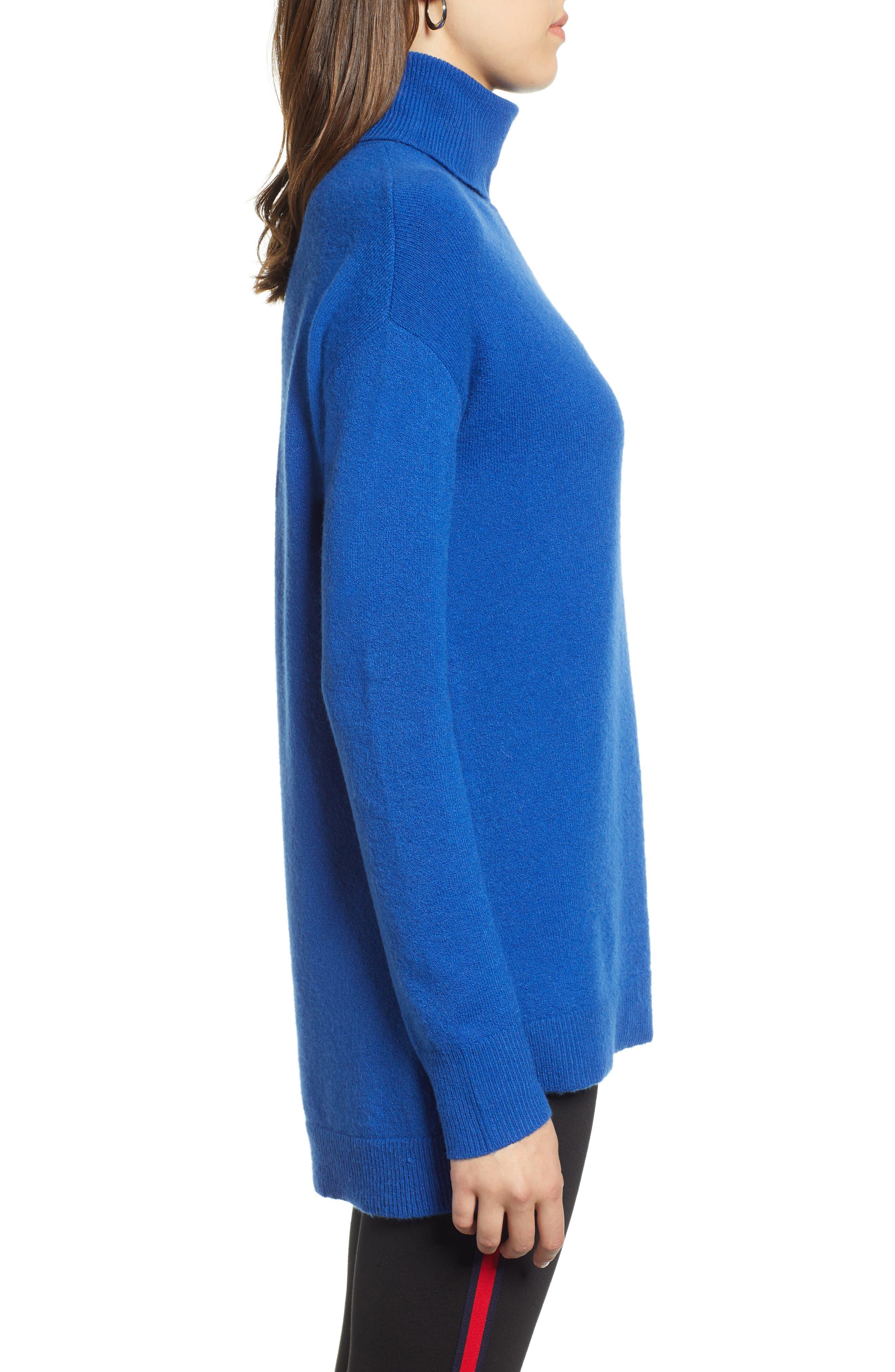 Turtleneck Wool Blend Tunic Sweater,                             Alternate thumbnail 3, color,                             BLUE MAZARINE