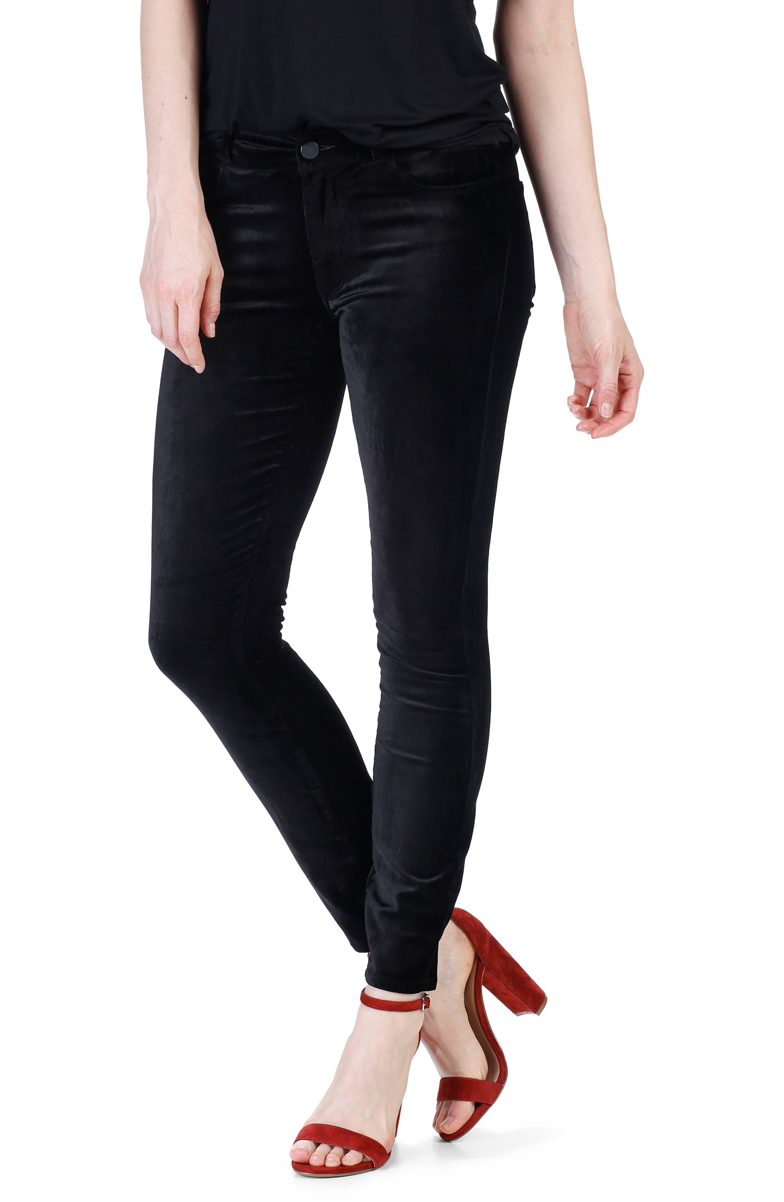 Verdugo Velvet Ankle Skinny Pants,                             Alternate thumbnail 2, color,                             001