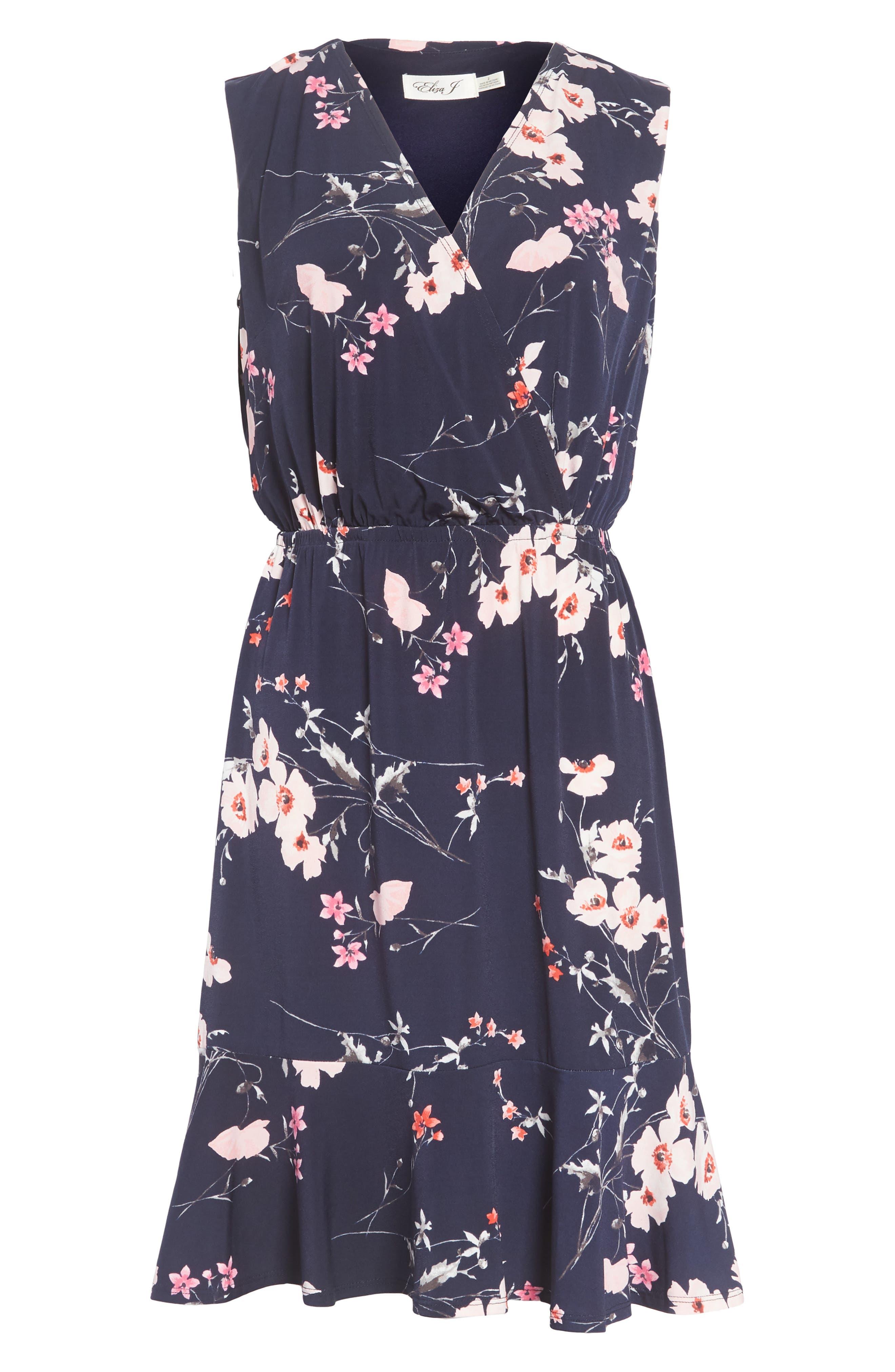 Print Surplice Dress,                             Alternate thumbnail 7, color,                             410