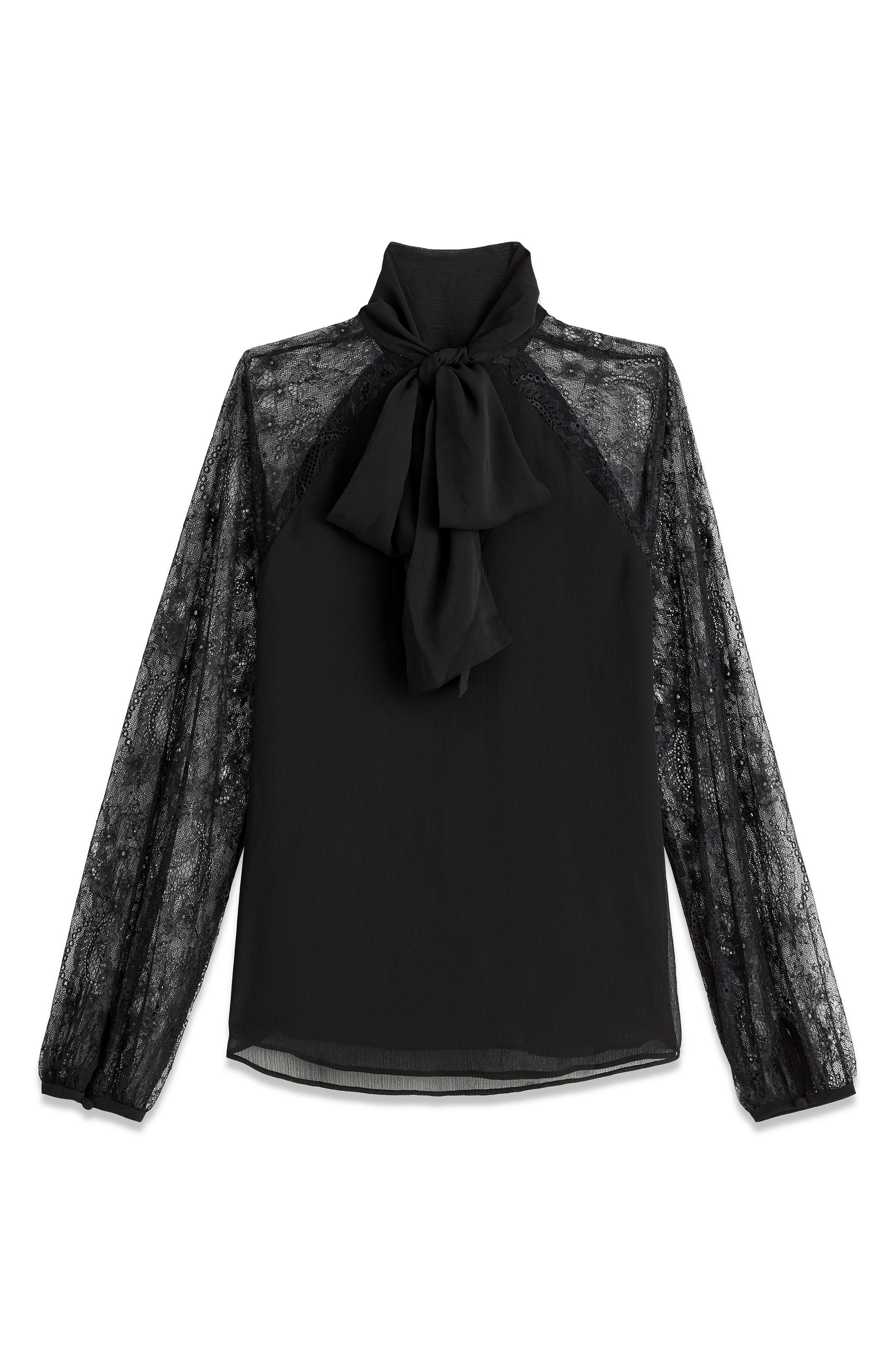 Lace Sleeve Bow Top,                             Alternate thumbnail 3, color,                             001