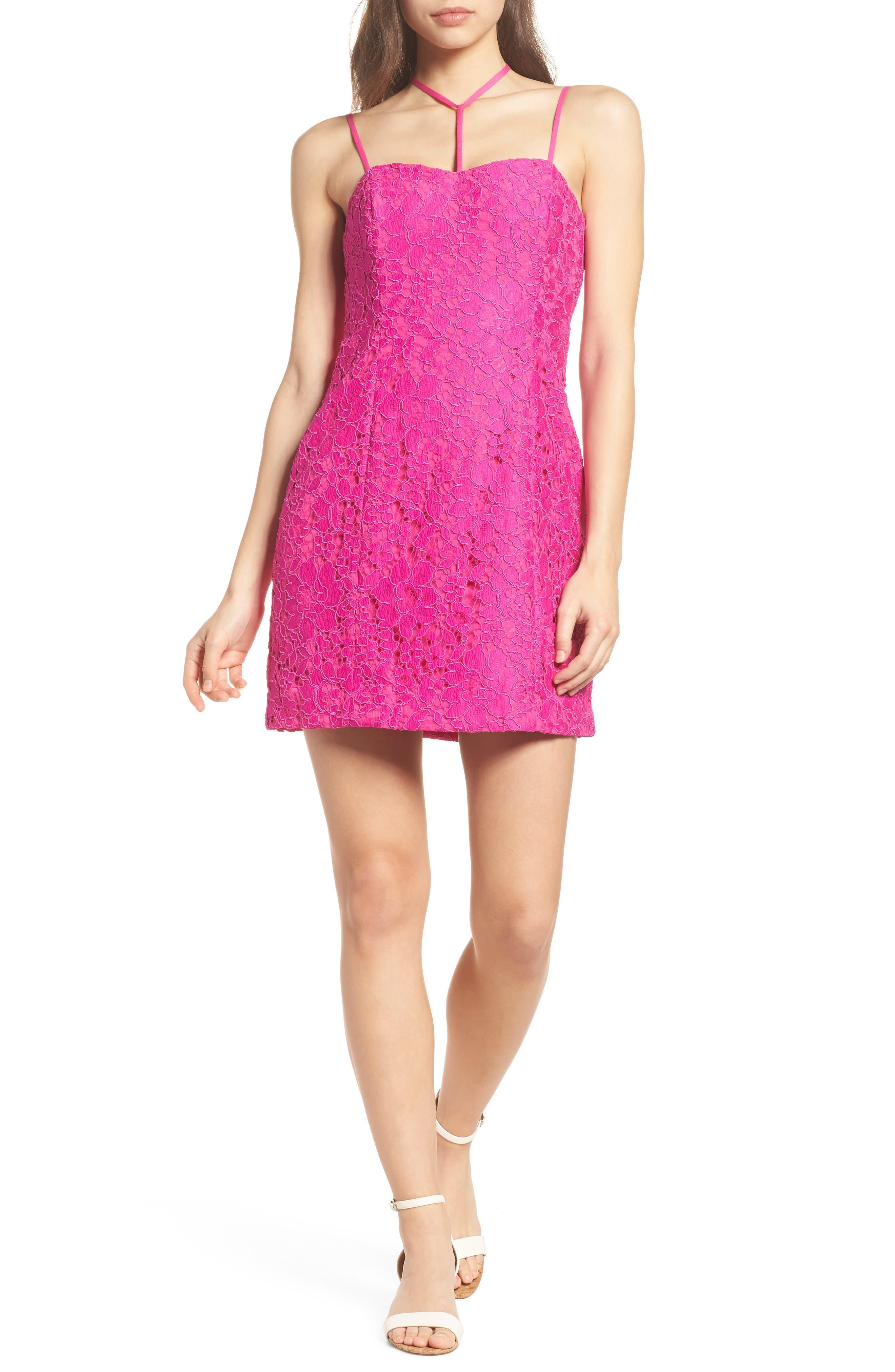 Demi Lace Dress,                             Alternate thumbnail 7, color,                             BERRY SANGRIA FLORAL LACE