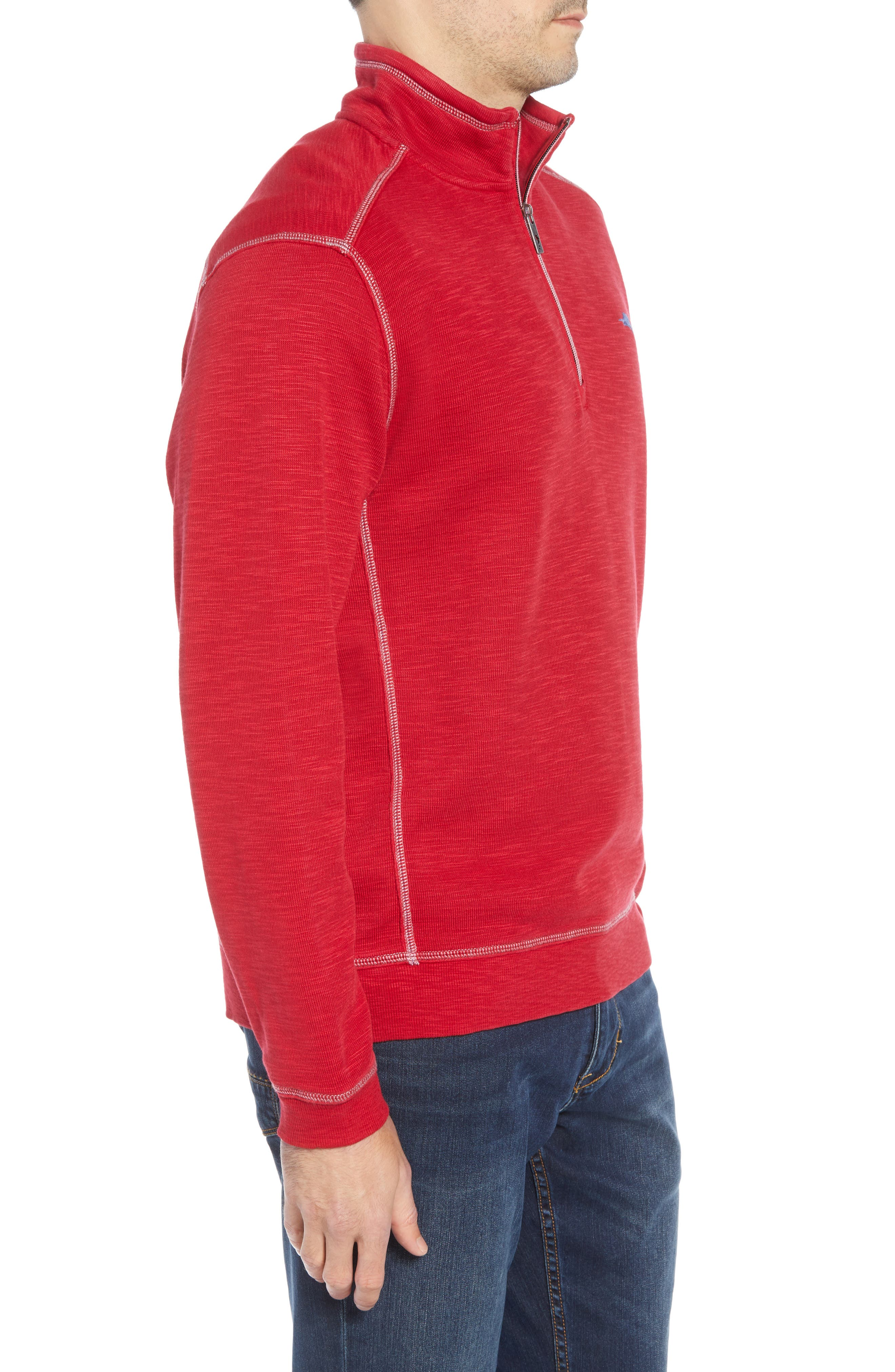 Tobago Bay Half Zip Pullover,                             Alternate thumbnail 3, color,                             SCOOTER RED