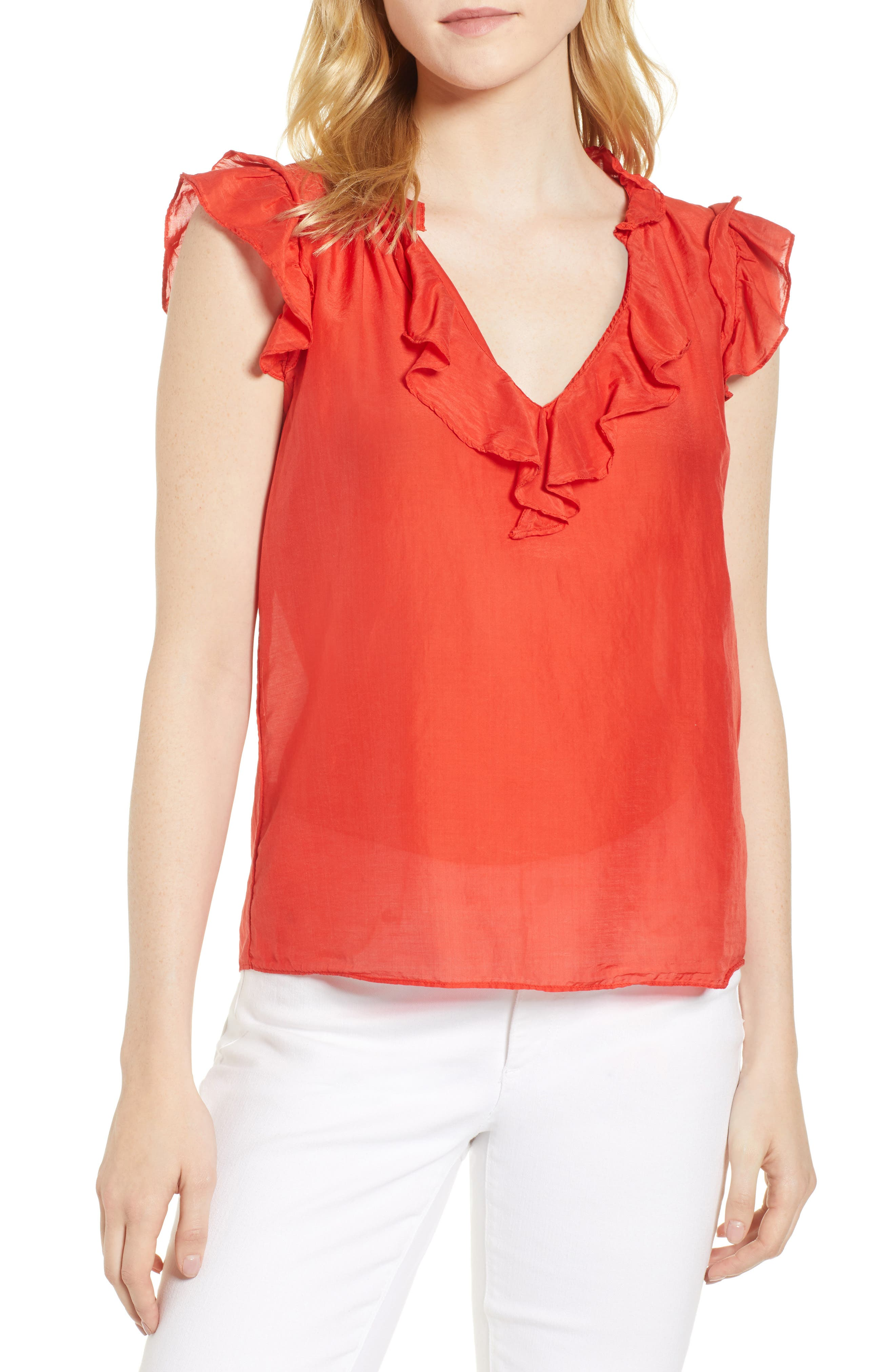 Silk and Cotton Ruffled Top,                         Main,                         color, CARDINAL